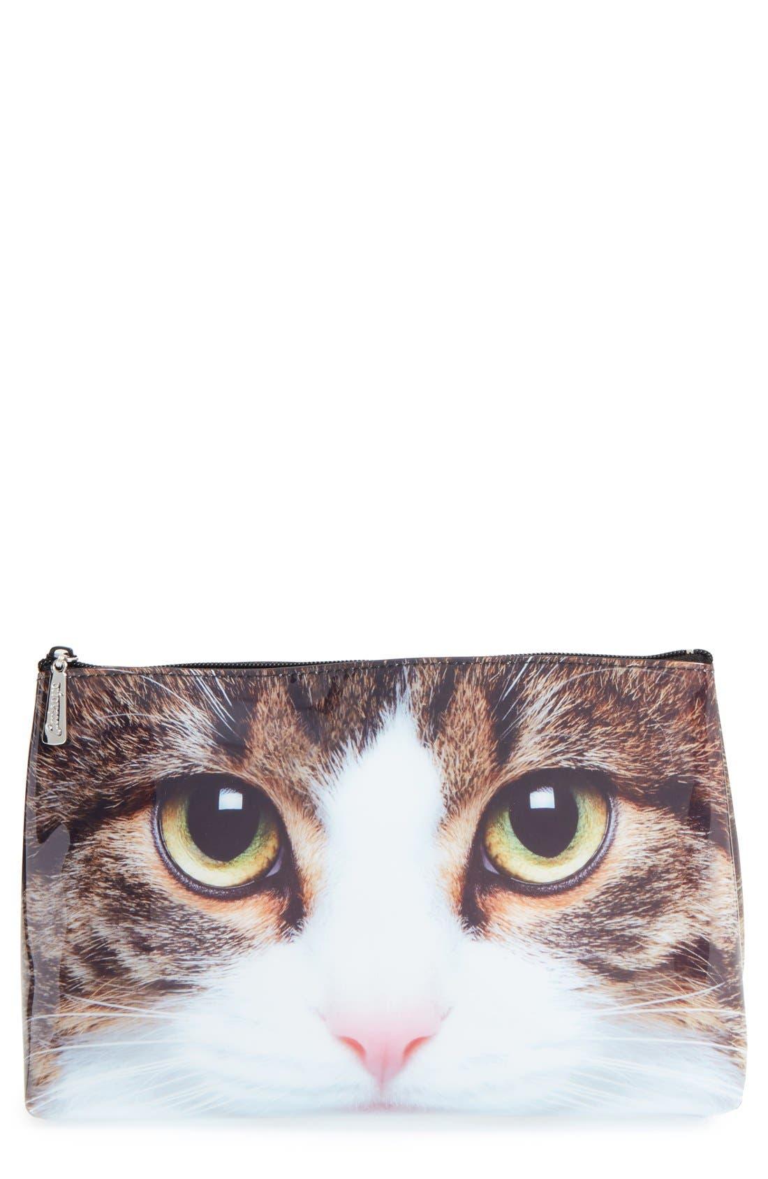 'Tabby Cat' Cosmetics Bag,                             Main thumbnail 1, color,                             200