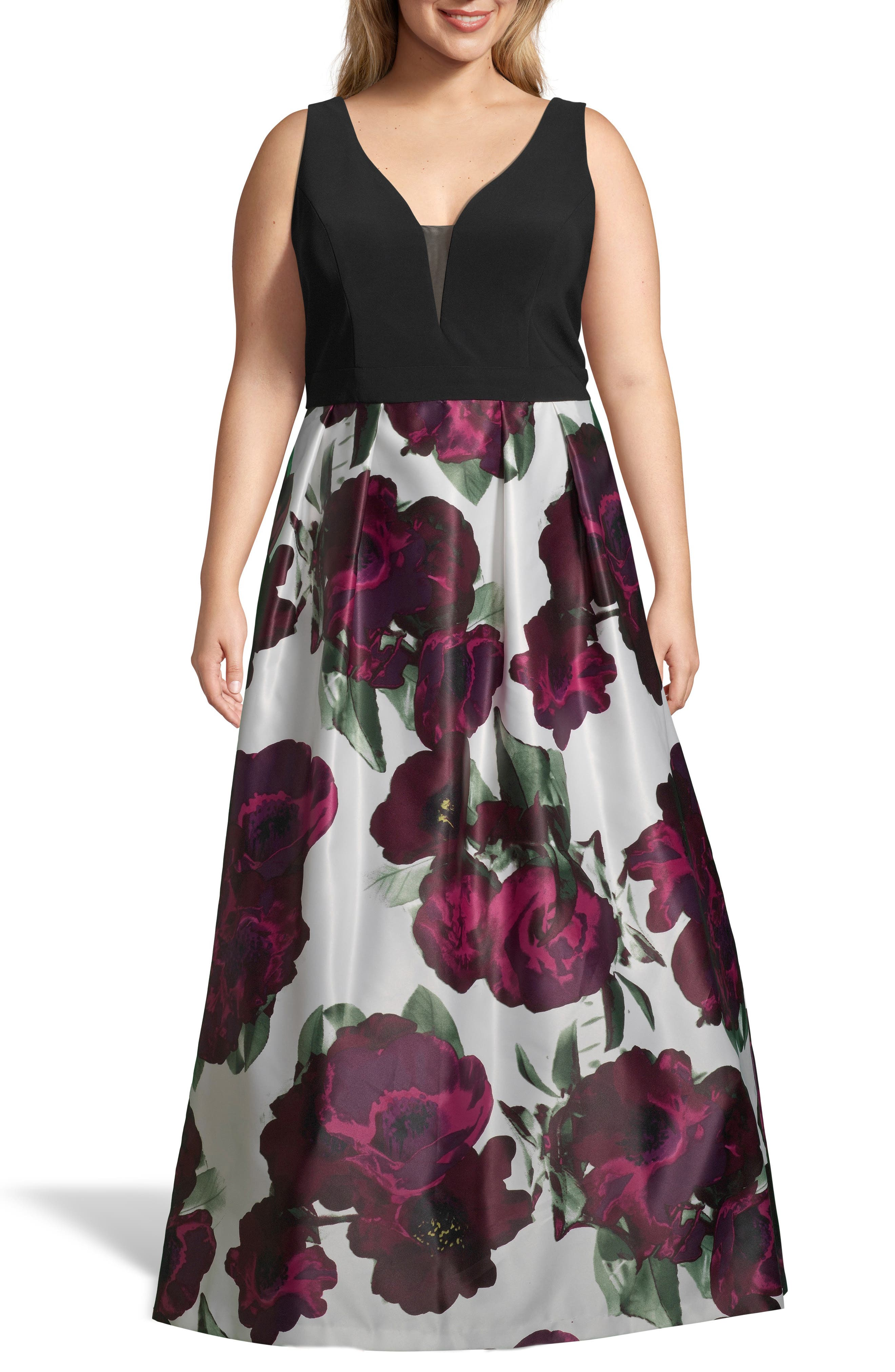 Plus Size Xscape Floral Skirt Gown, Pink