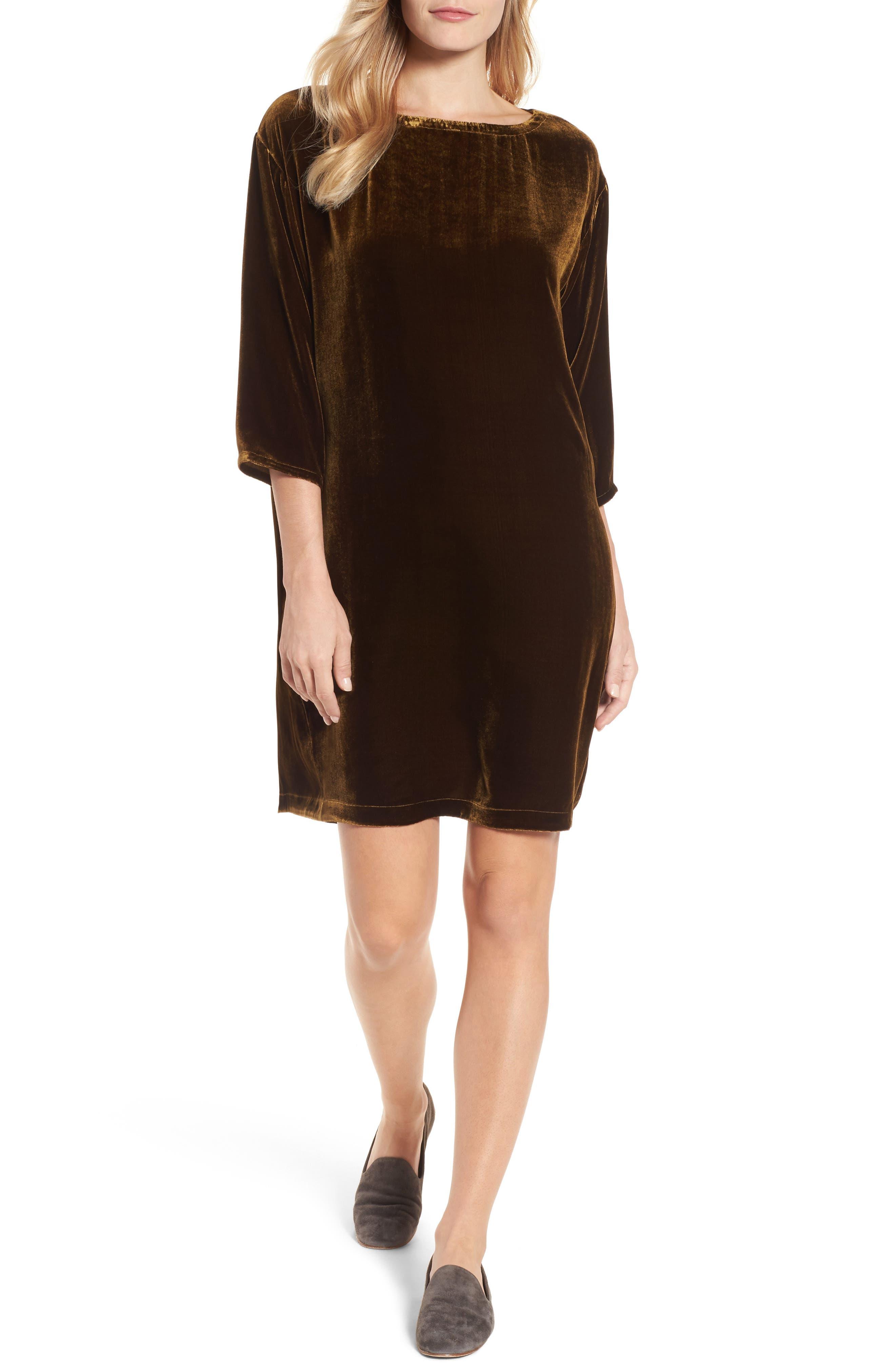 Velvet Shift Dress,                             Alternate thumbnail 5, color,                             342