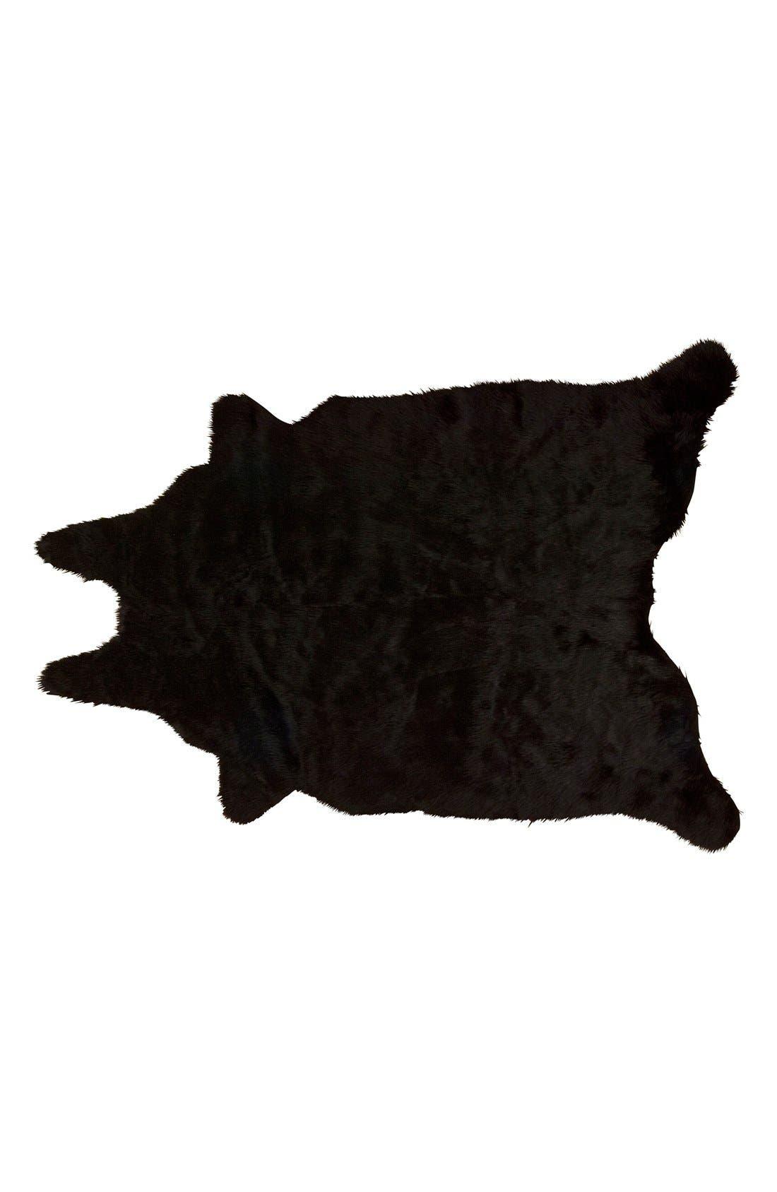 FauxFur Freeform Rug,                         Main,                         color, BLACK