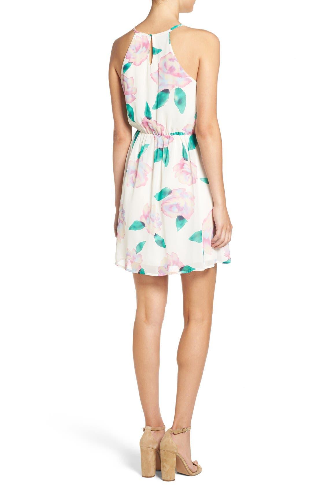 Floral Print A-Line Dress,                             Alternate thumbnail 4, color,                             110
