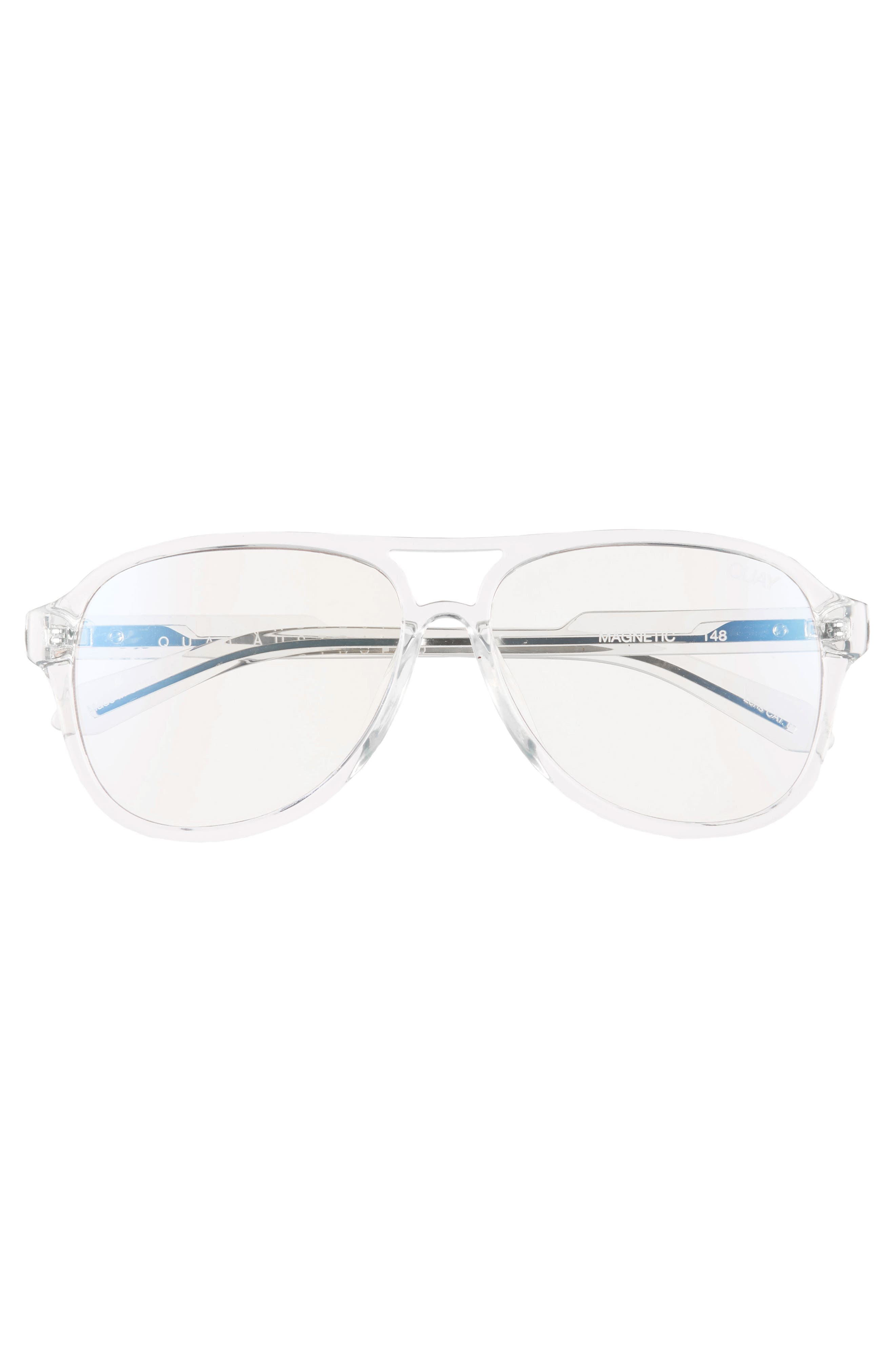 Magnetic 55mm Aviator Fashion Glasses,                             Alternate thumbnail 3, color,                             CLEAR/ CLEAR