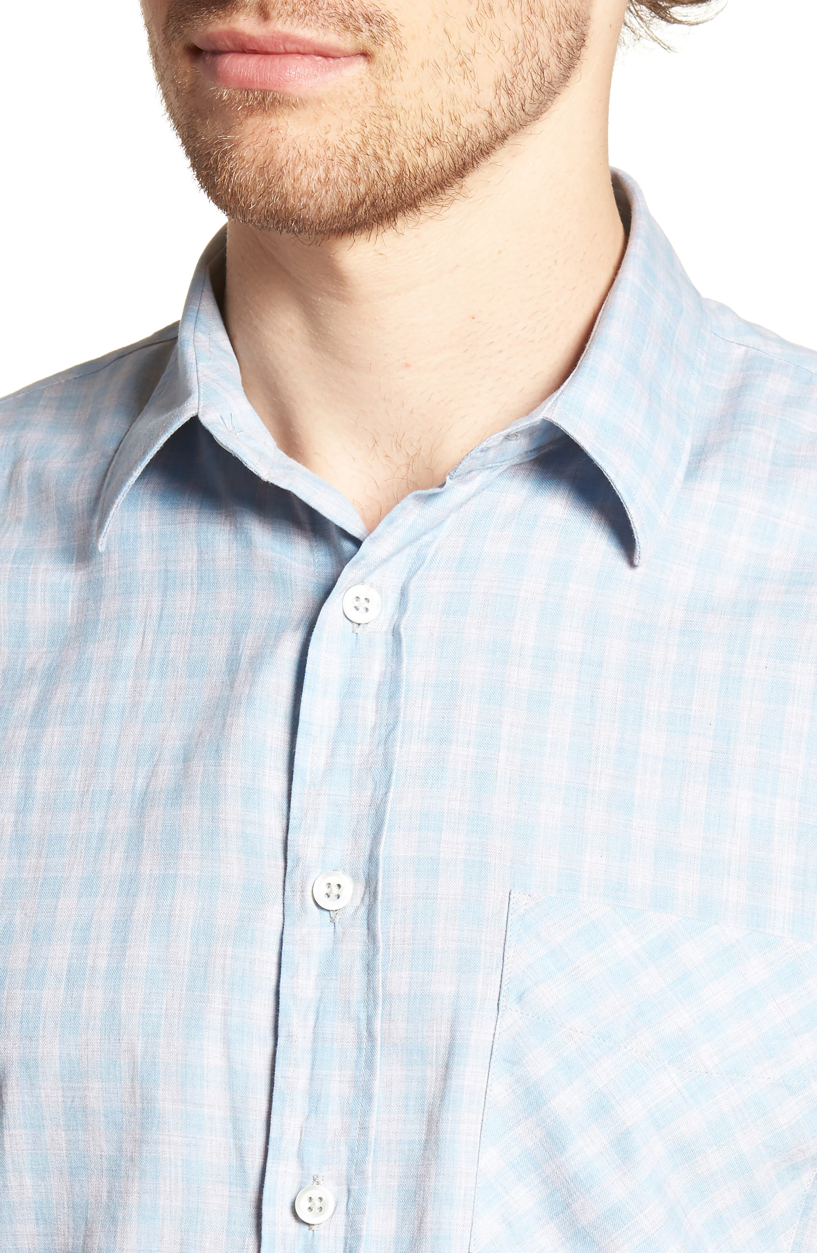 Kirby Slim Fit Check Sport Shirt,                             Alternate thumbnail 4, color,                             BLUE/ GREY