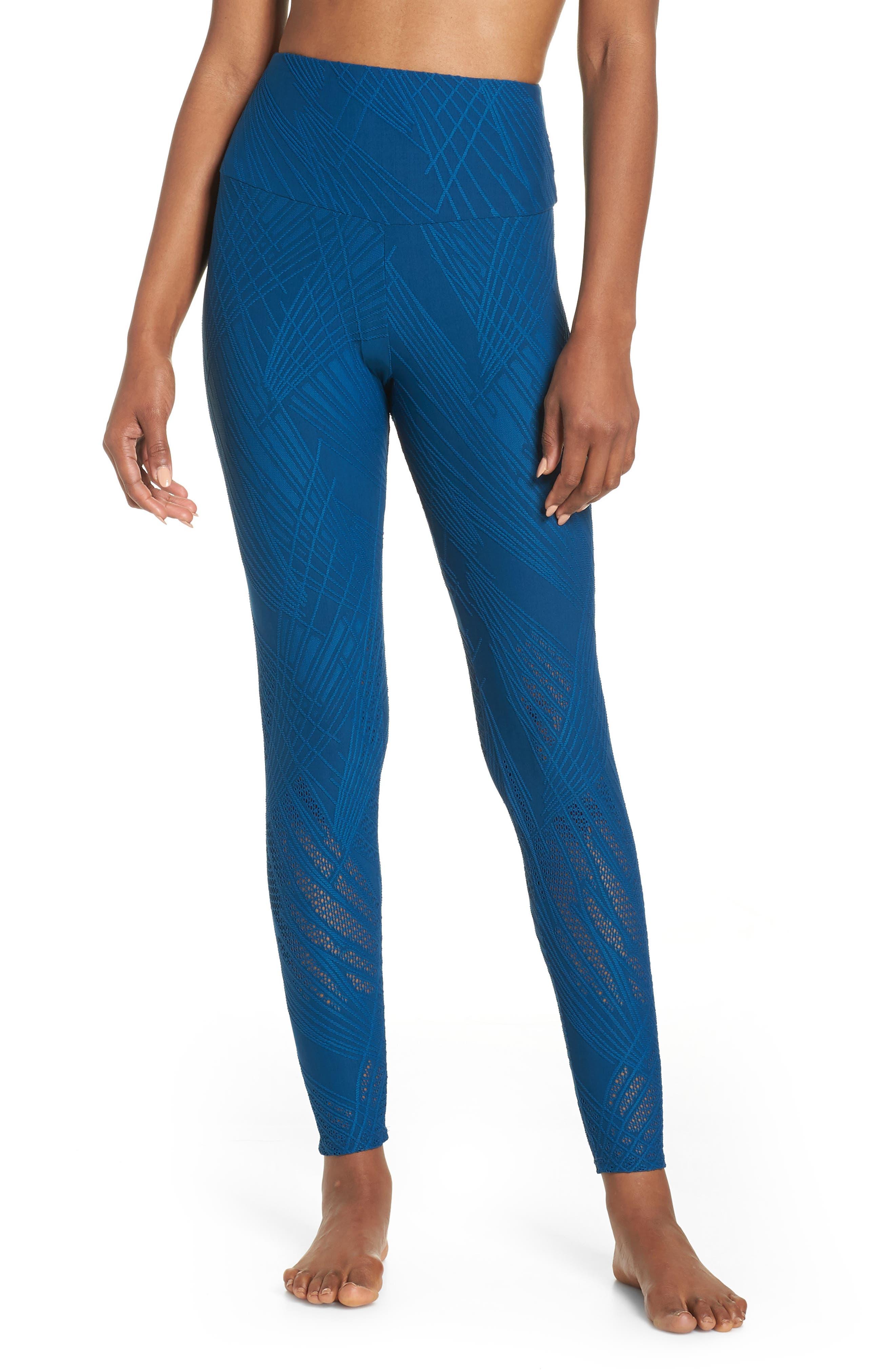 ONZIE Selenite Midi Leggings, Main, color, DEEP PETROL