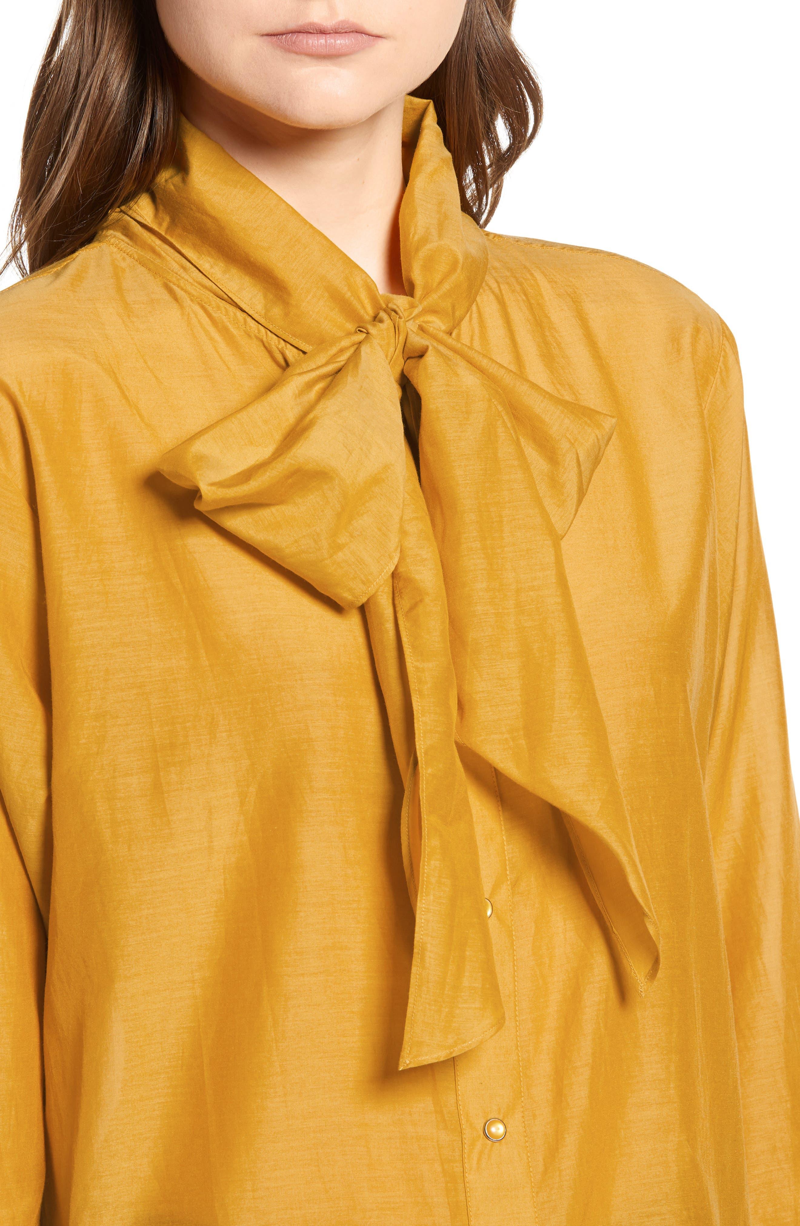 Cotton Silk Bow Tie Blouse,                             Alternate thumbnail 4, color,                             720