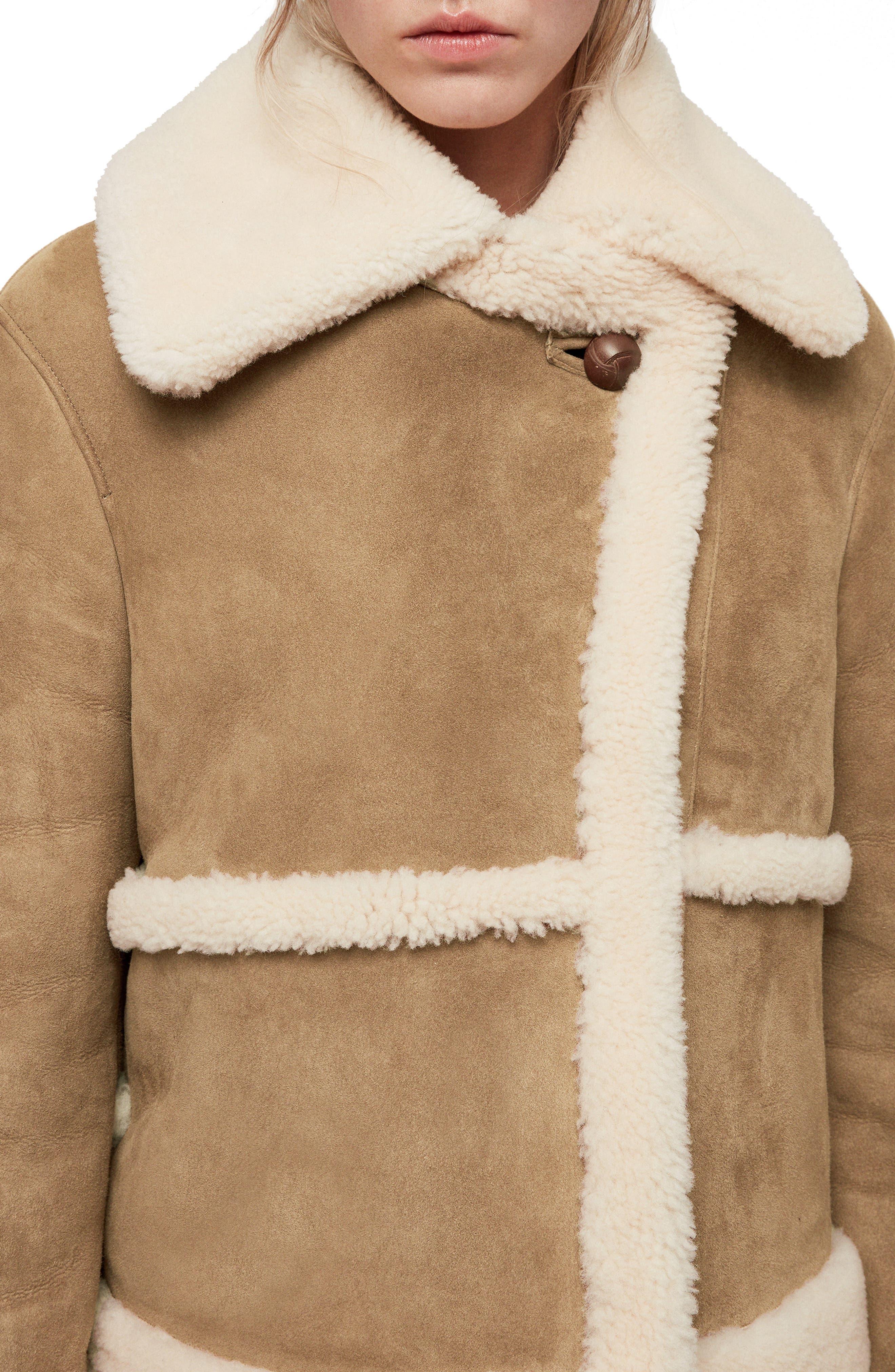 Farley Genuine Shearling Jacket,                             Alternate thumbnail 3, color,                             SAND BROWN/ ECRU
