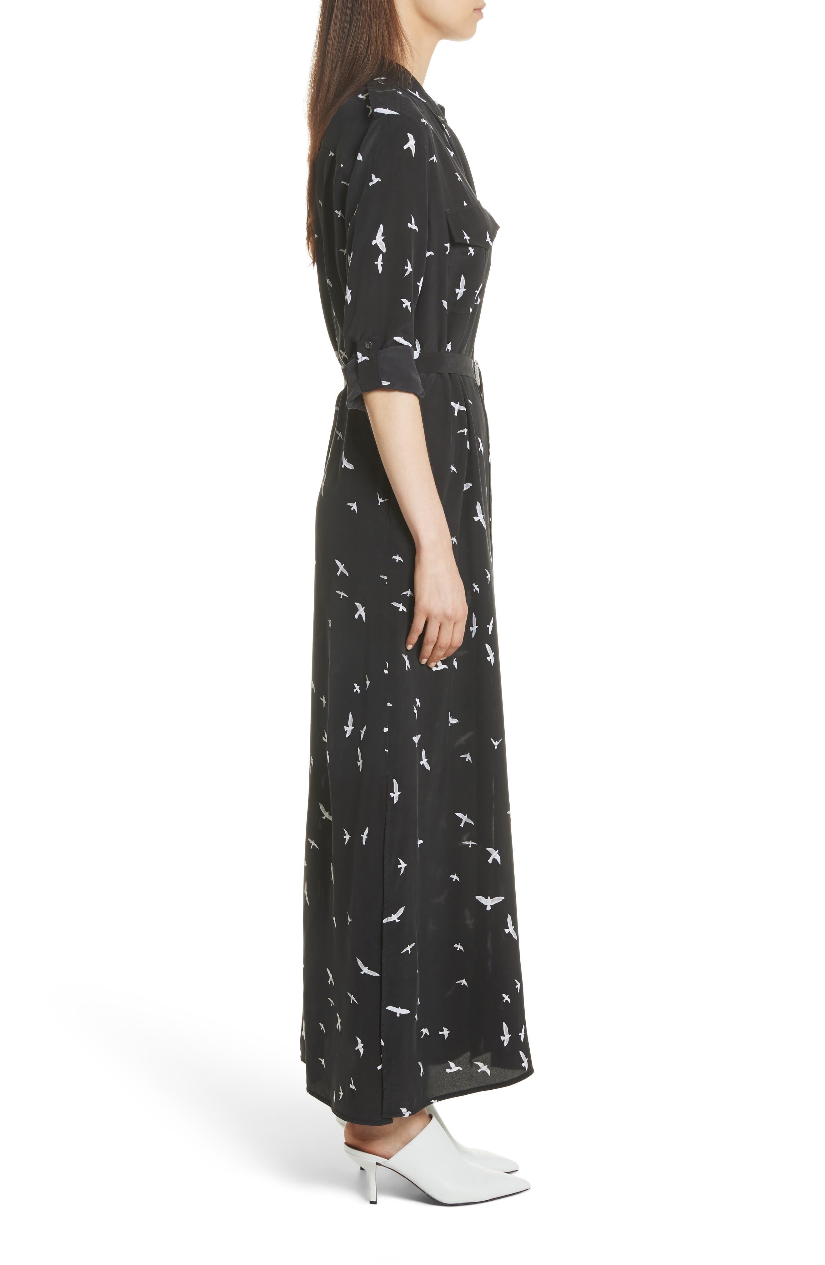 Bird Print Silk Maxi Dress,                             Alternate thumbnail 3, color,                             003