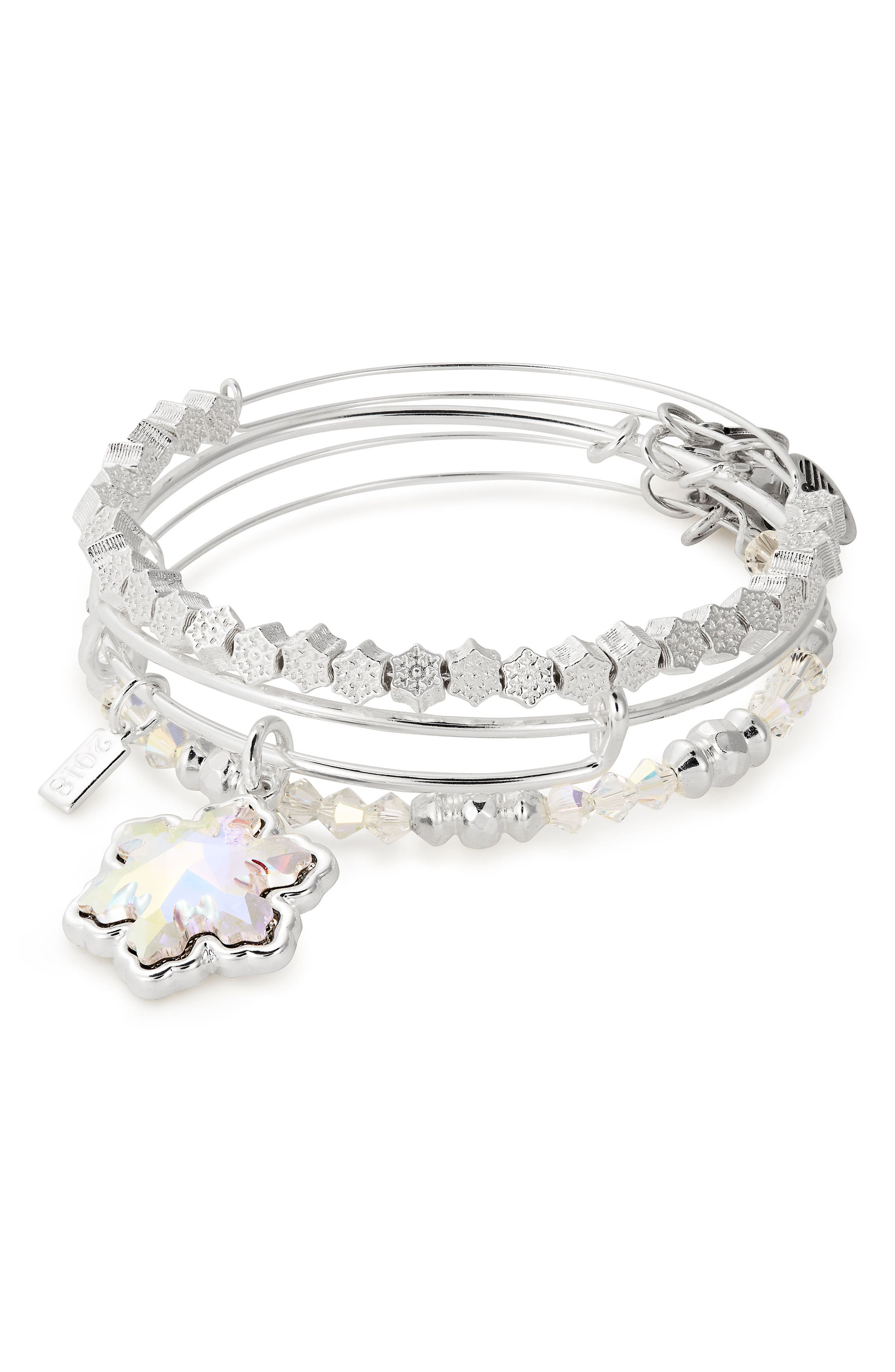 ALEX AND ANI Snowflake Set Of 3 Adjustable Wire Bangles in Silver