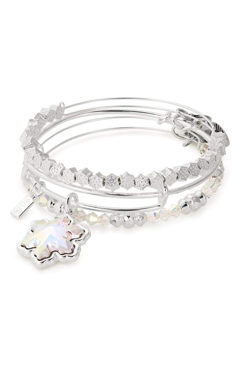 Alex And Ani SNOWFLAKE SET OF 3 ADJUSTABLE WIRE BANGLES