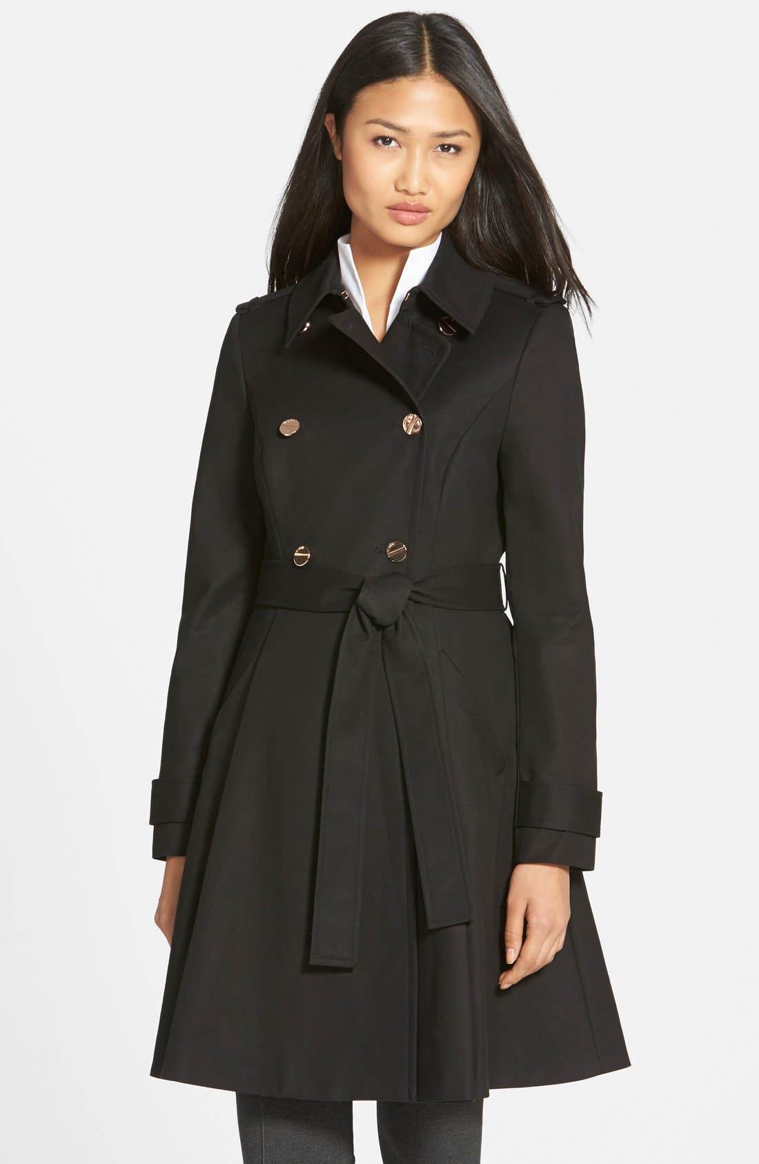 TED BAKER LONDON Flared Skirt Trench Coat, Main, color, 001