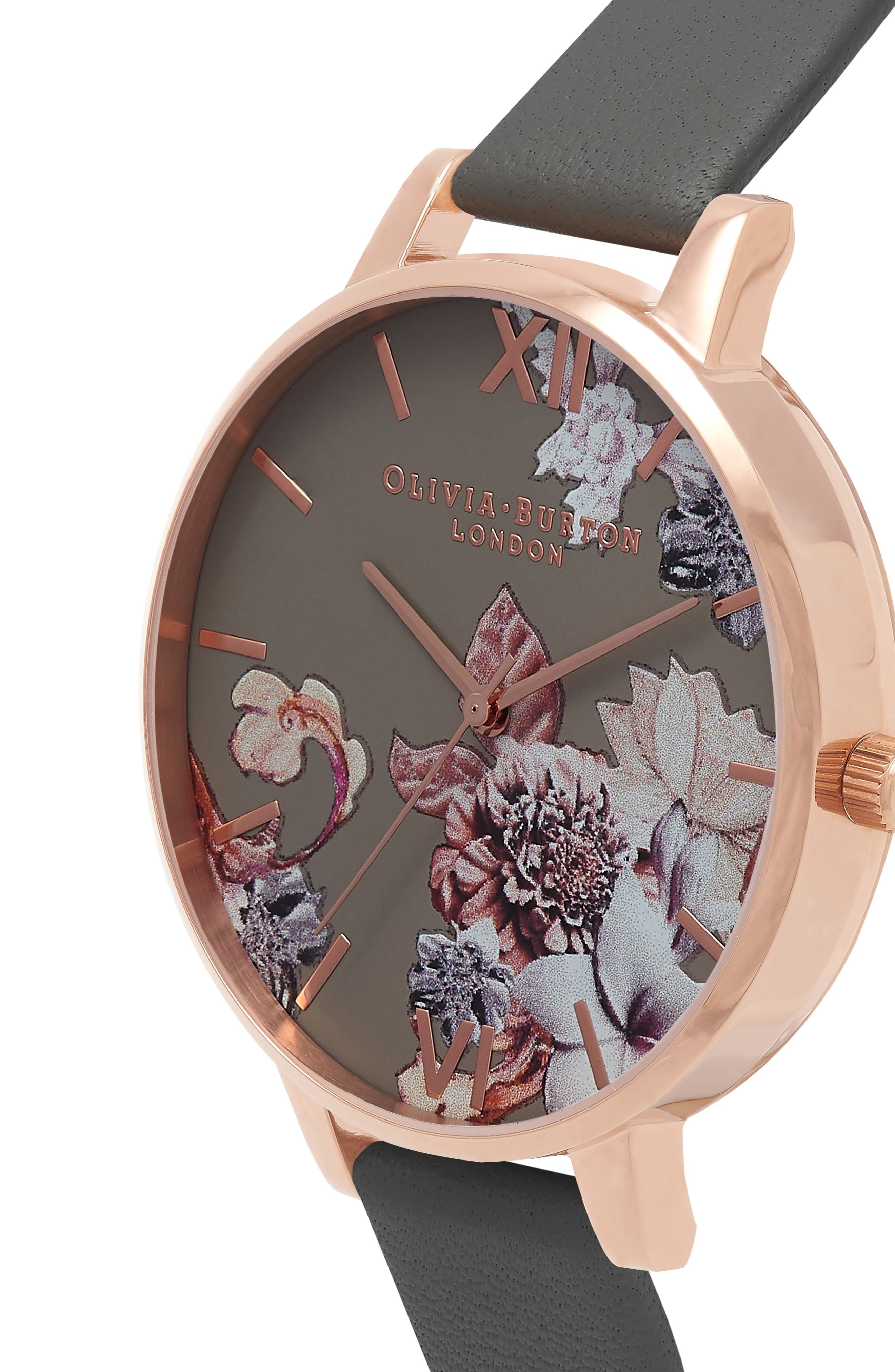 Marble Floral Leather Strap Watch, 38mm,                             Alternate thumbnail 11, color,