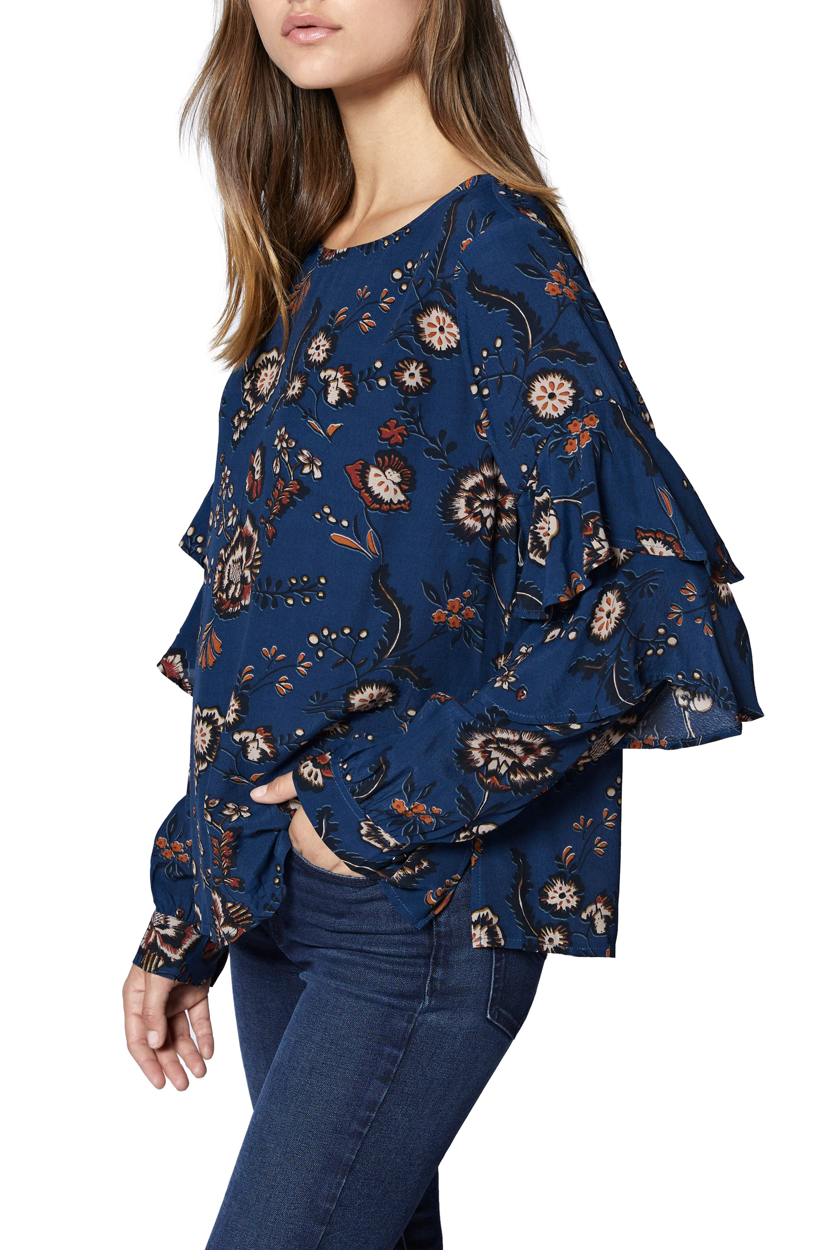 Tilly Floral Ruffle Sleeve Top,                             Alternate thumbnail 3, color,                             BLUE LIFE
