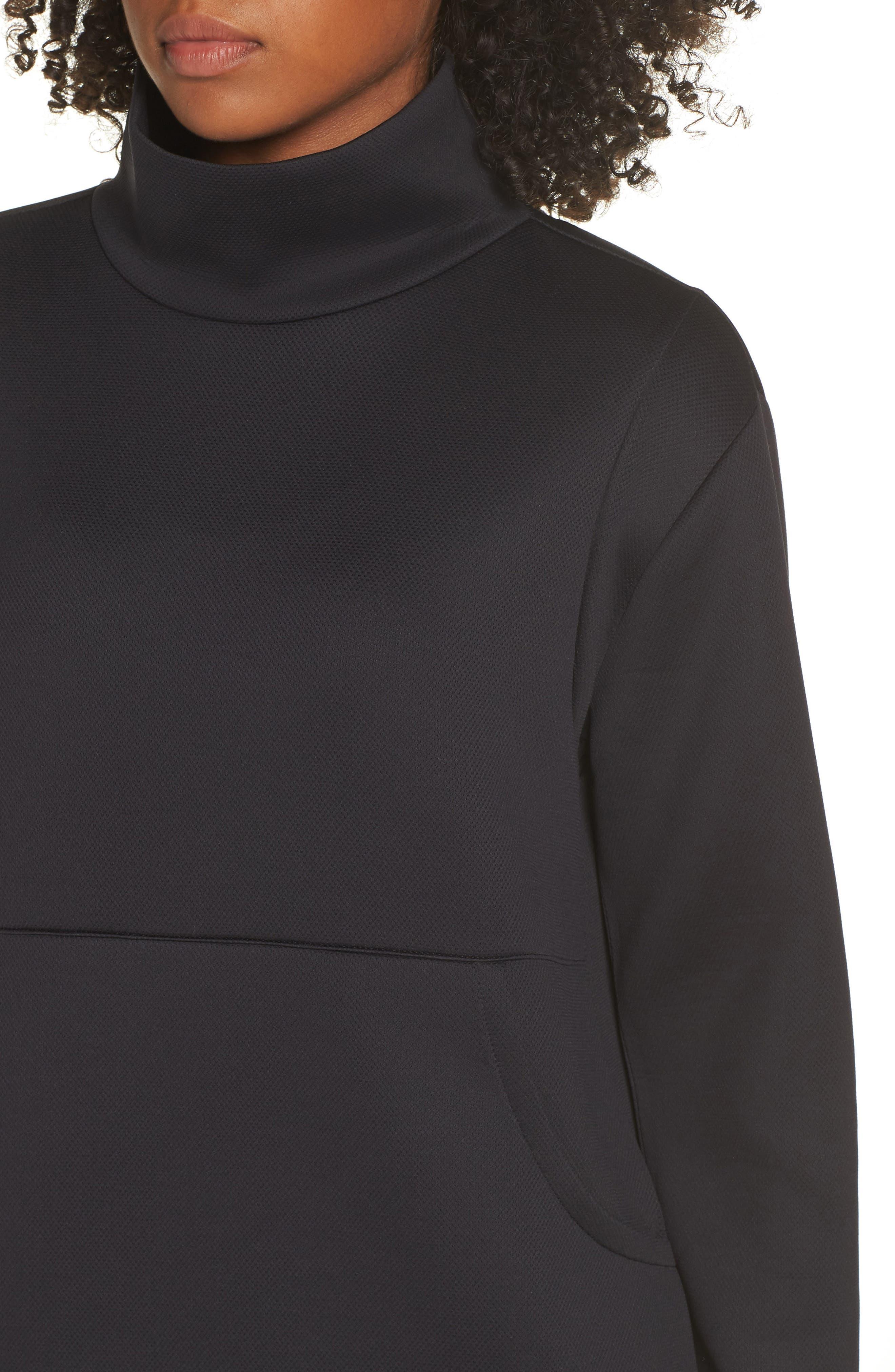 All About It Funnel Neck Sweatshirt,                             Alternate thumbnail 4, color,                             BLACK