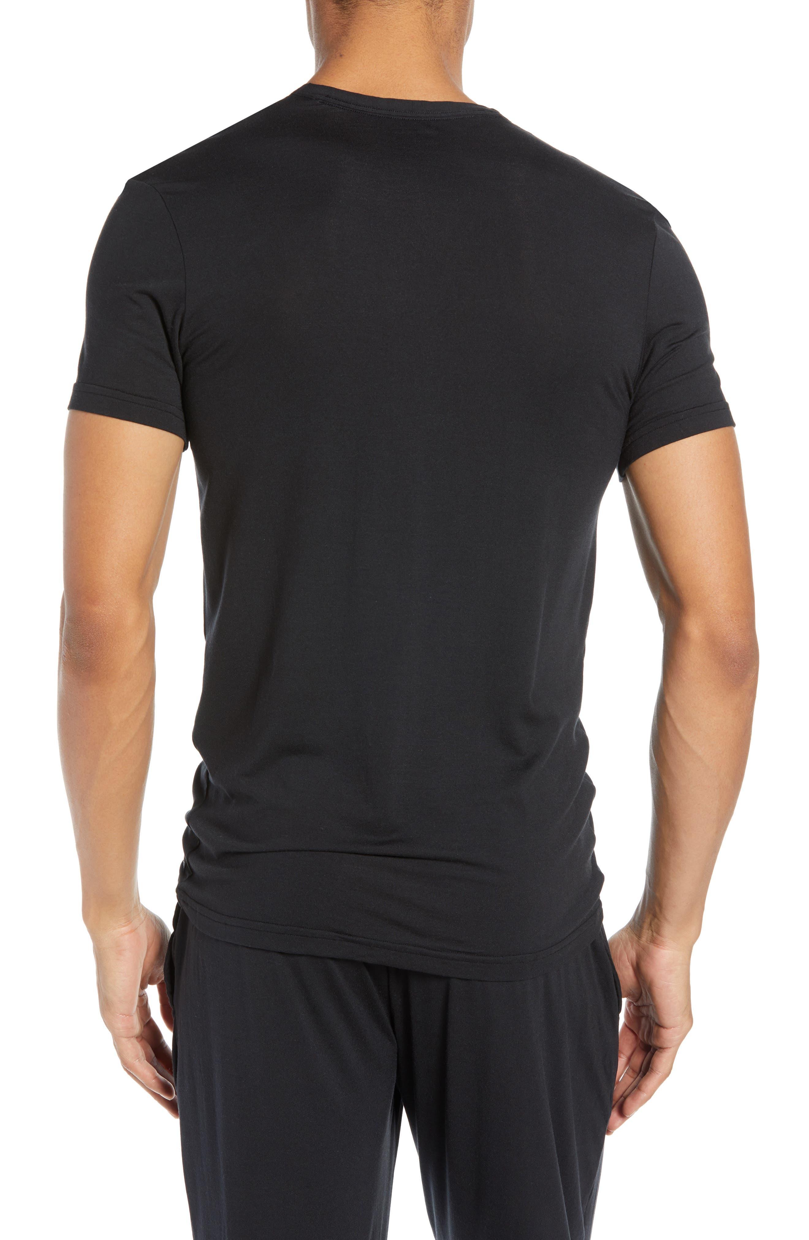 CALVIN KLEIN,                             Ultrasoft Stretch Modal V-Neck T-Shirt,                             Alternate thumbnail 2, color,                             BLACK