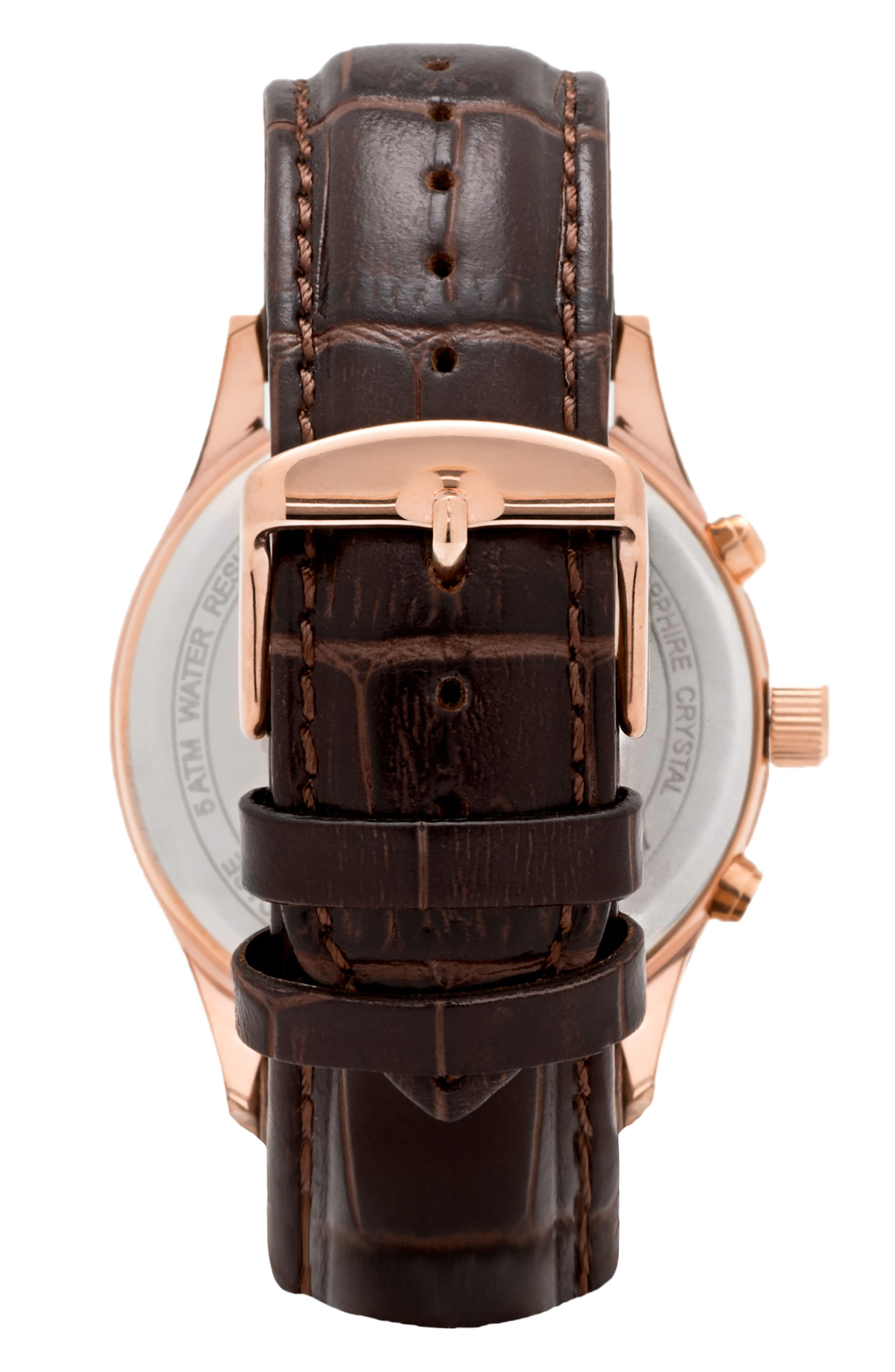 Leonard & Church Barclay Chronograph Leather Strap Watch, 43mm,                             Alternate thumbnail 6, color,