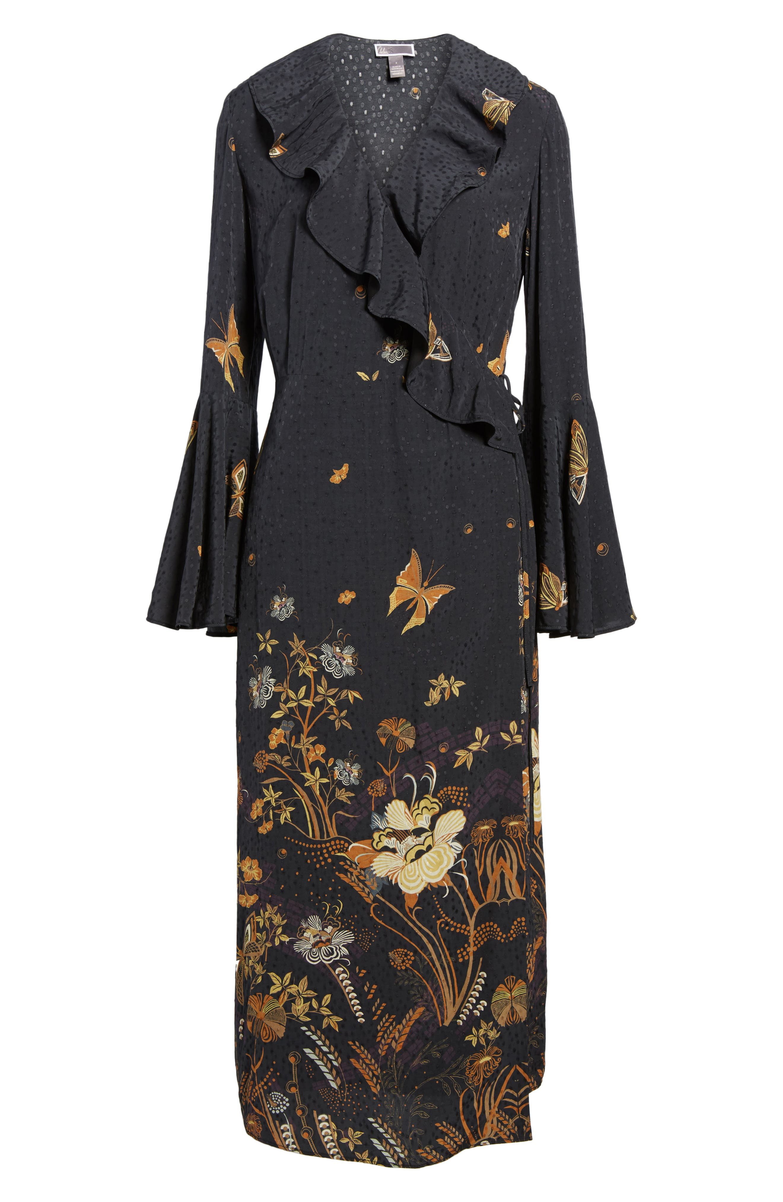 Jacquard Midi Wrap Dress,                             Alternate thumbnail 6, color,                             001