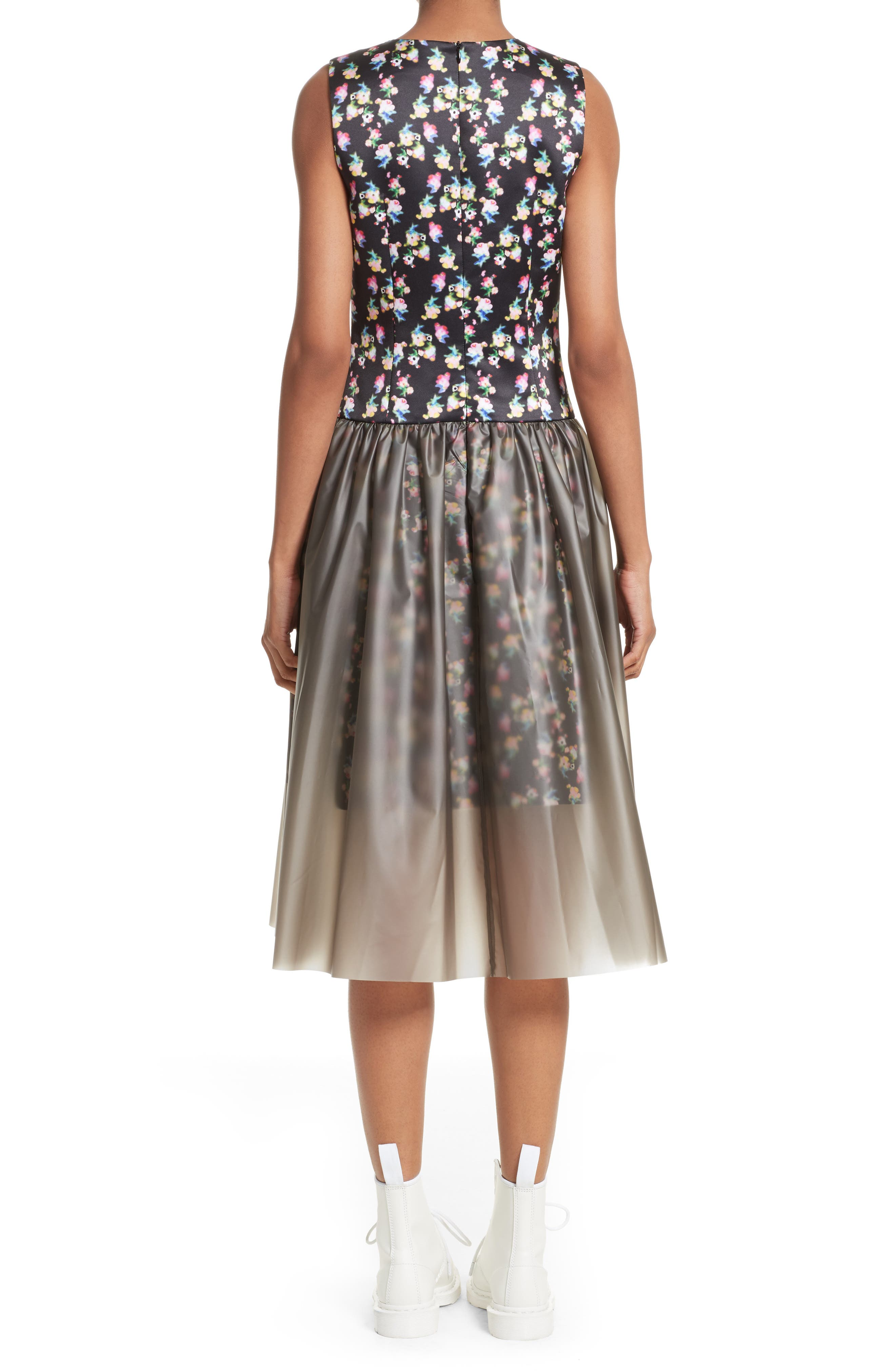 Floral Print Fit & Flare Dress with Vinyl Skirt,                             Alternate thumbnail 2, color,                             001
