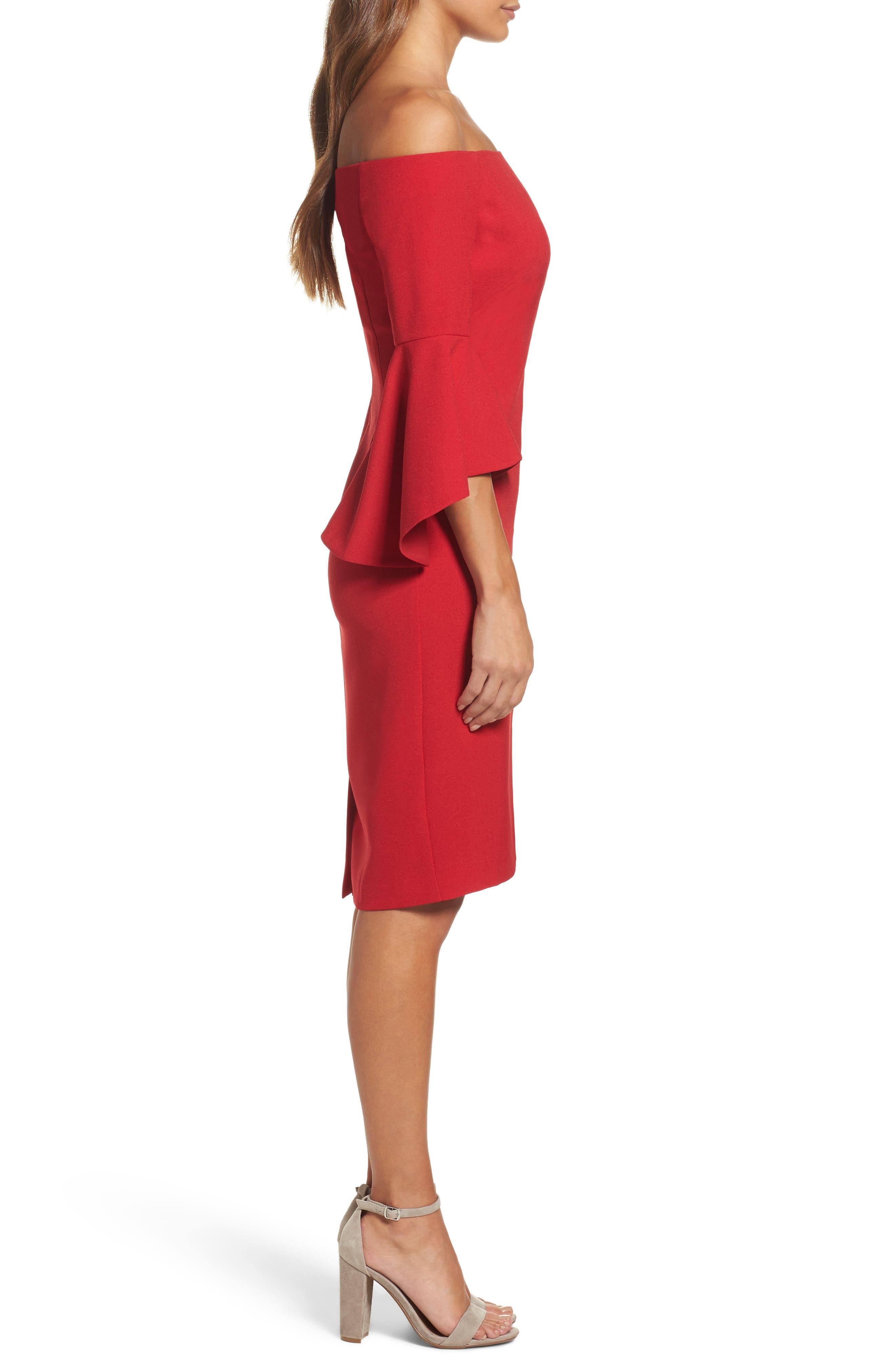 Off the Shoulder Dress,                             Alternate thumbnail 3, color,                             RED JESTER