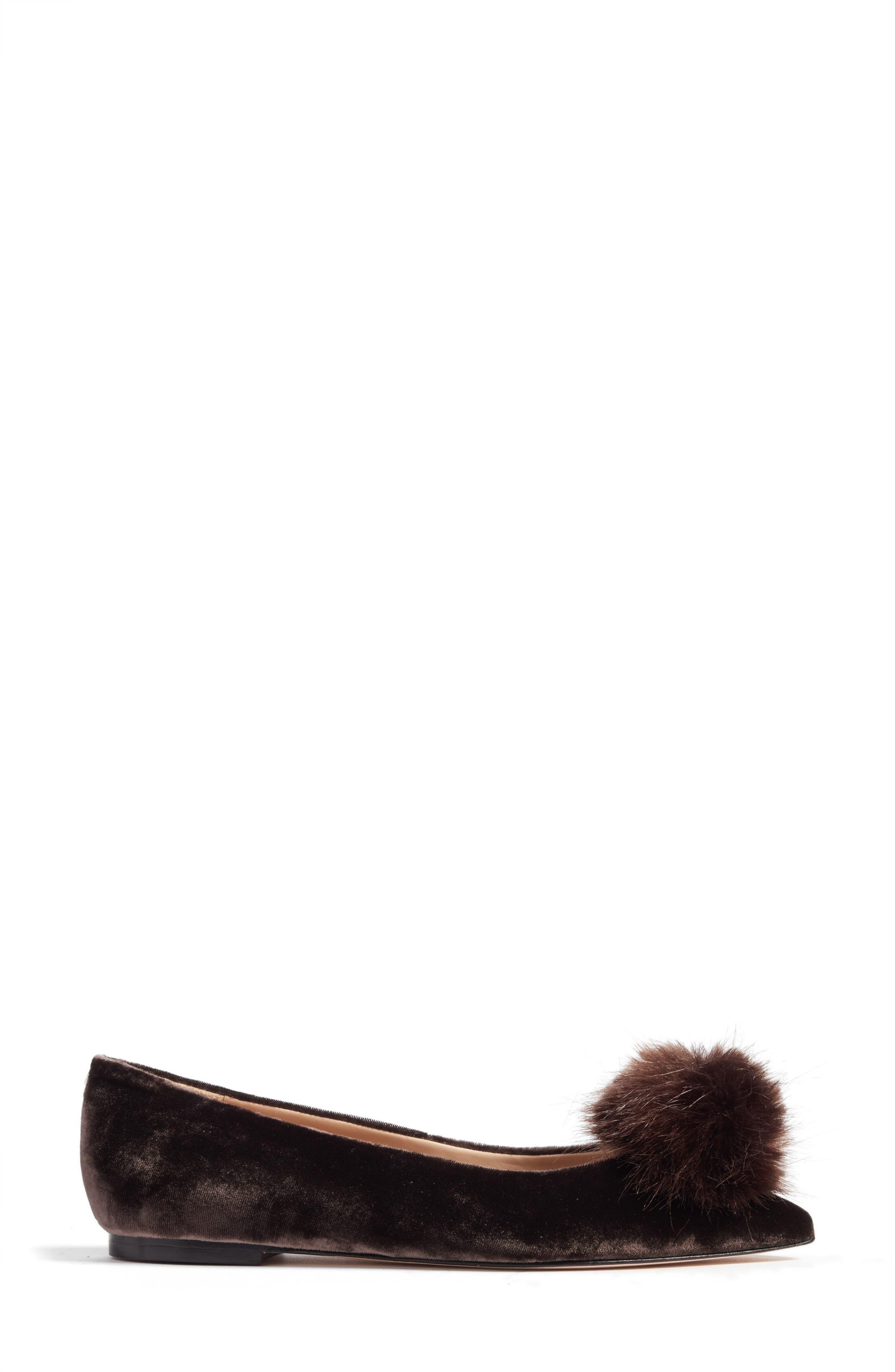 Raddie Faux Fur Pompom Flat,                             Alternate thumbnail 3, color,                             020