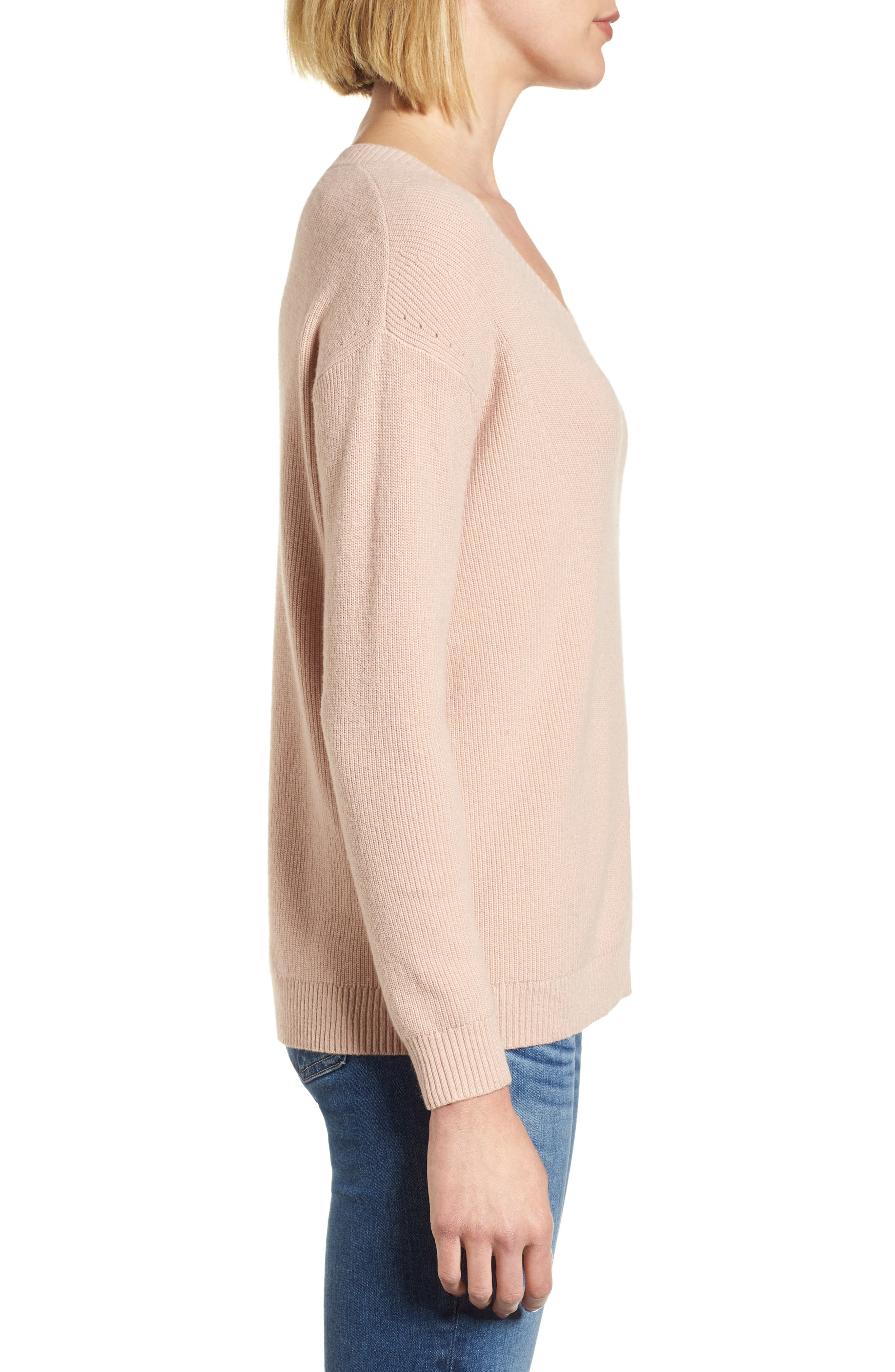 V-Neck Sweater,                             Alternate thumbnail 3, color,