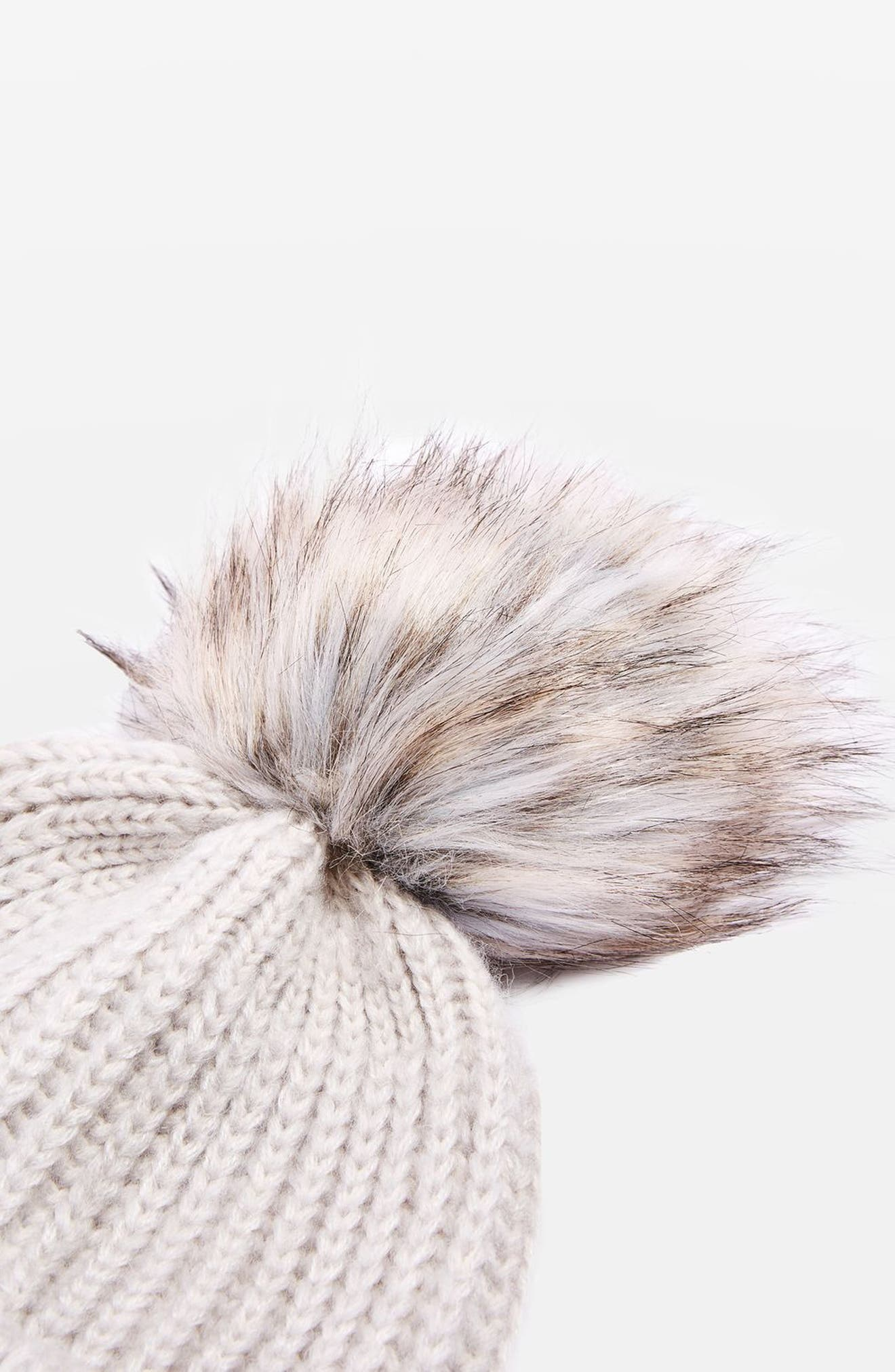 Faux Fur Pompom Beanie,                             Alternate thumbnail 2, color,                             050