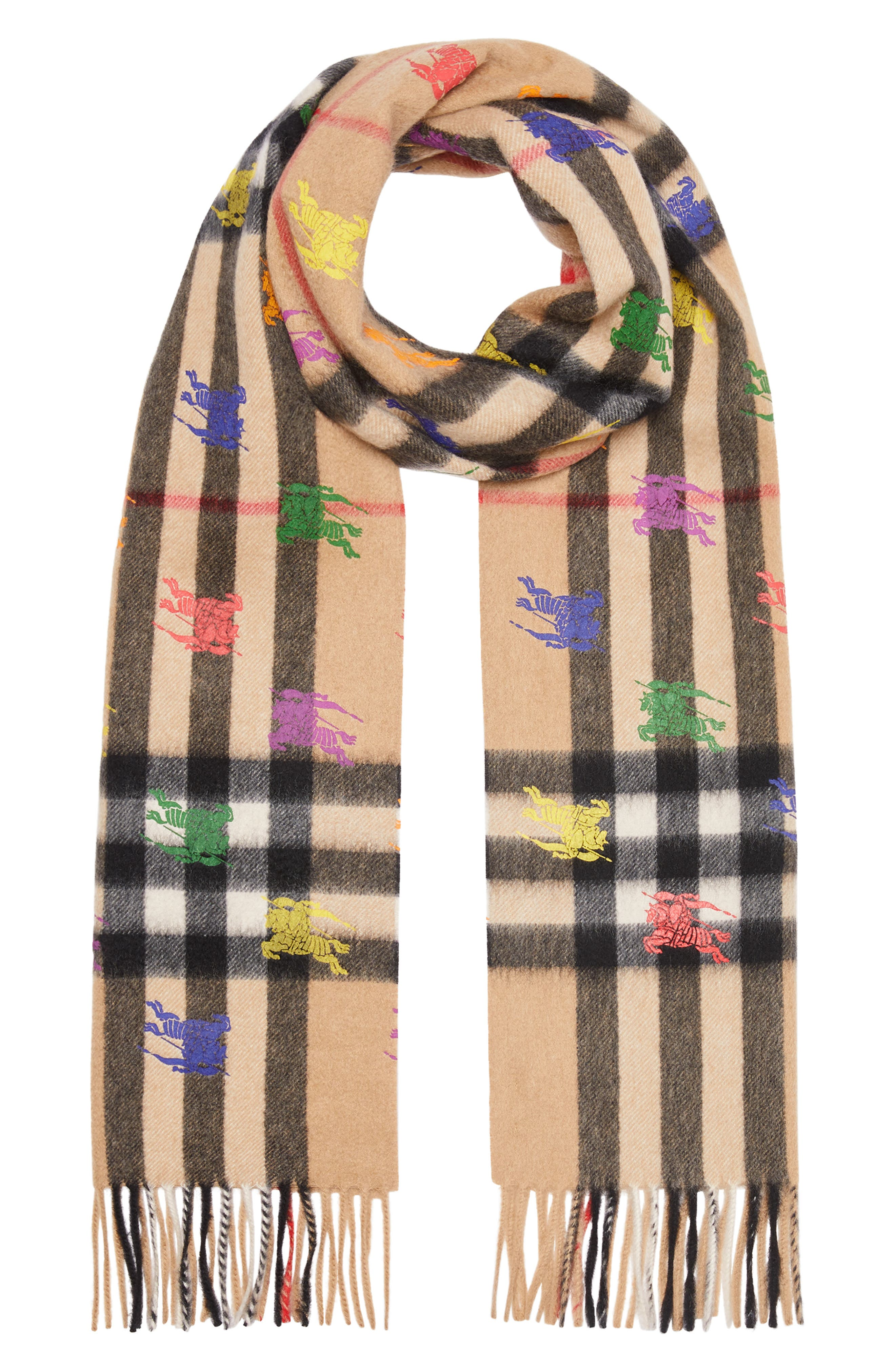 BURBERRY,                             Classic Check & Rainbow Knight Cashmere Scarf,                             Alternate thumbnail 3, color,                             CAMEL