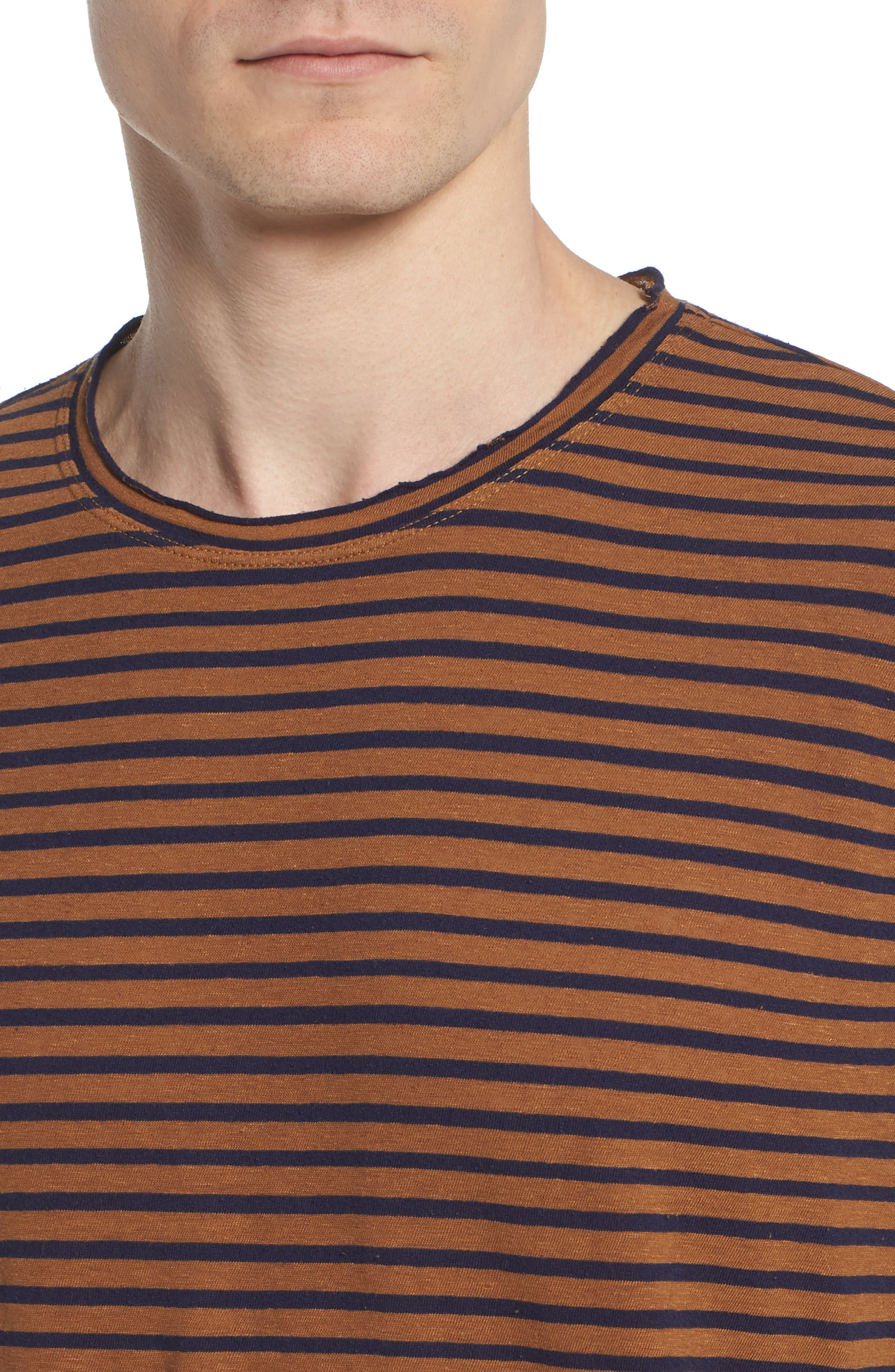 Theo Striped Cotton & Linen T-Shirt,                             Alternate thumbnail 4, color,                             BRONZE CLAY/ NAVY