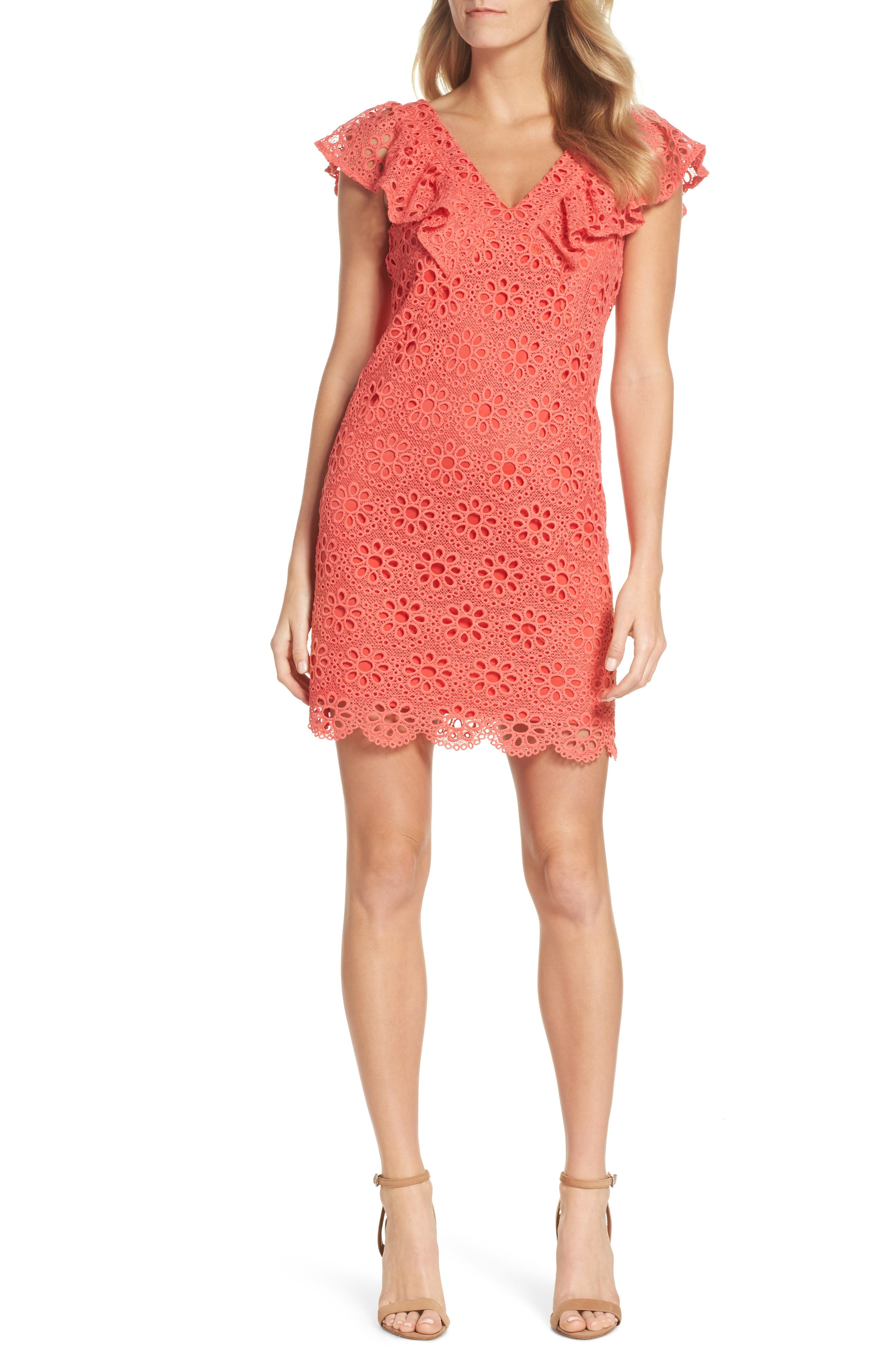 Neriah Eyelet Embroidered Dress,                             Main thumbnail 1, color,                             CORAL LILLY