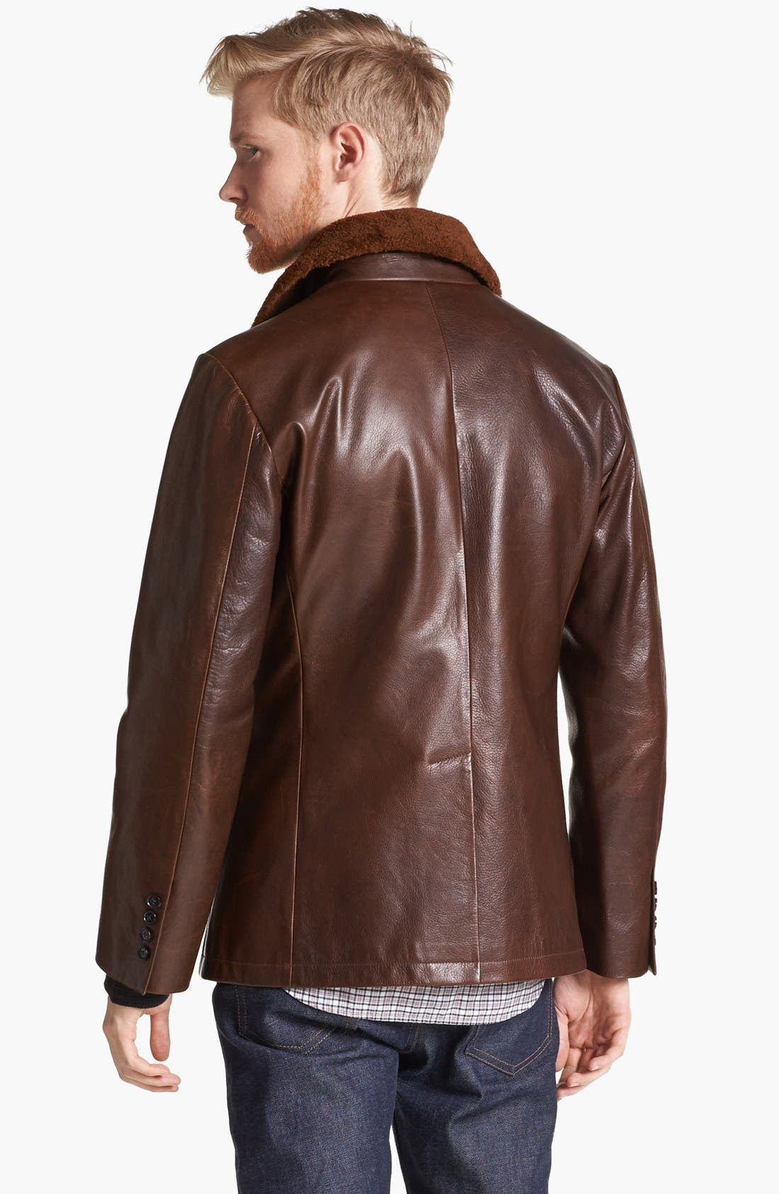 BILLY REID,                             Leather Peacoat with Genuine Shearling Collar,                             Alternate thumbnail 4, color,                             200