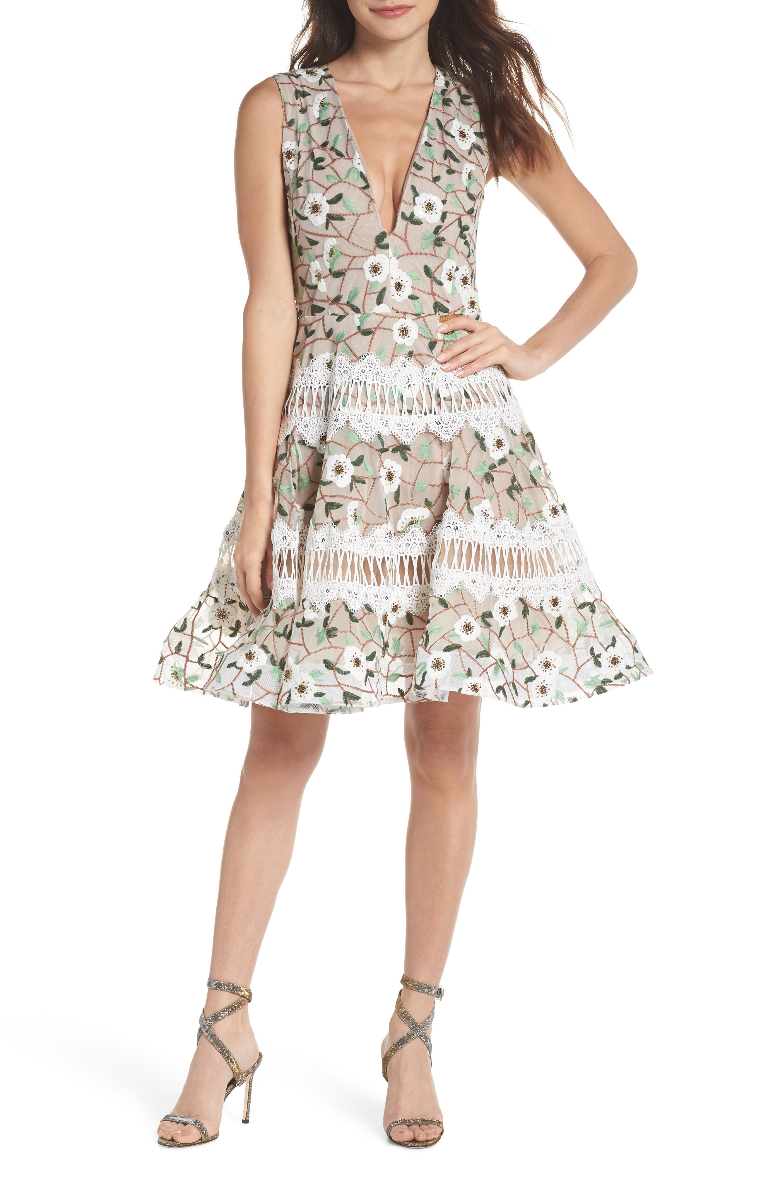 Boni Embroidered Plunging Fit & Flare Dress,                         Main,                         color, MULTICOLOR
