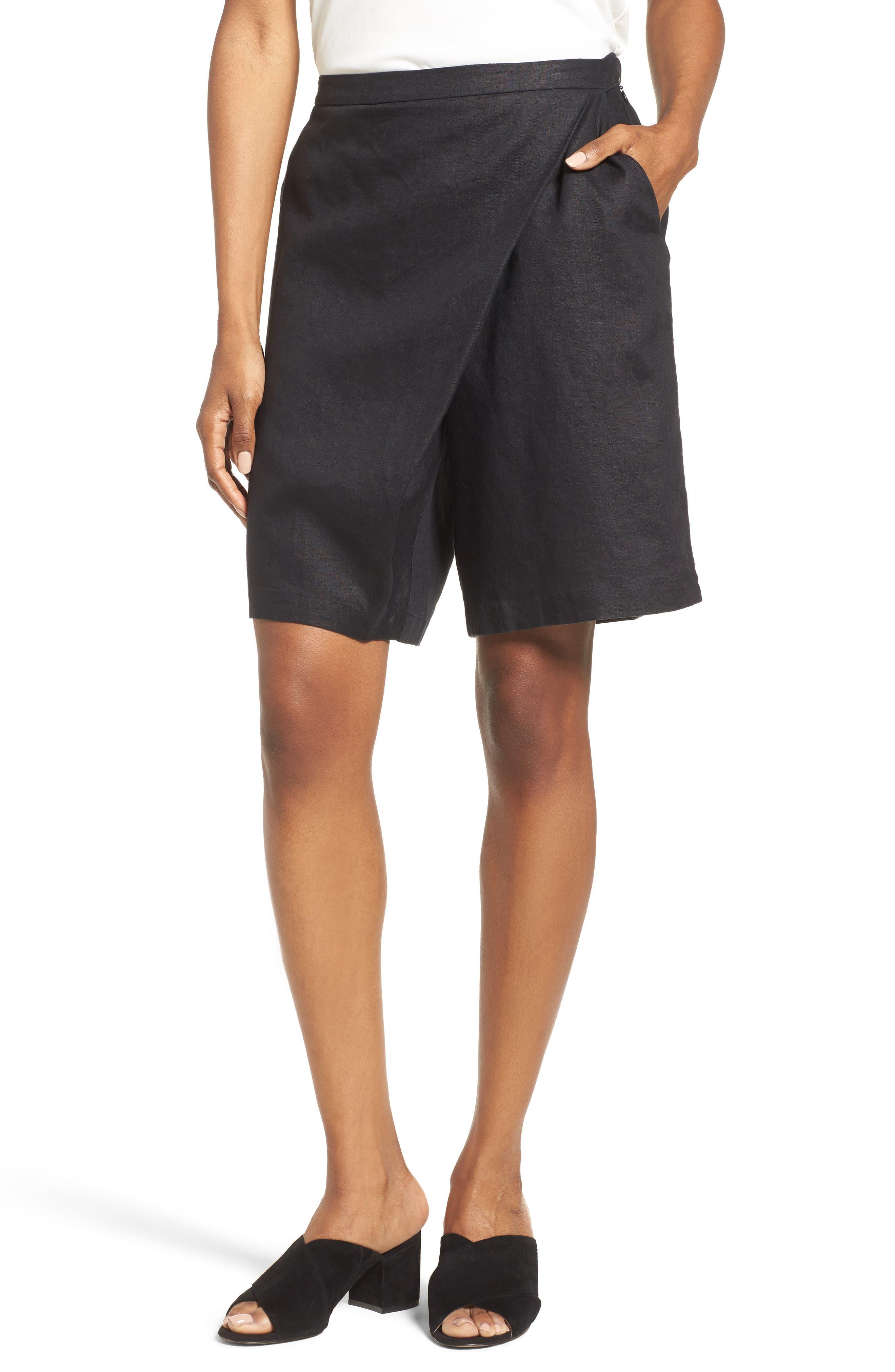 Organic Linen Sarong Shorts,                             Main thumbnail 1, color,                             001