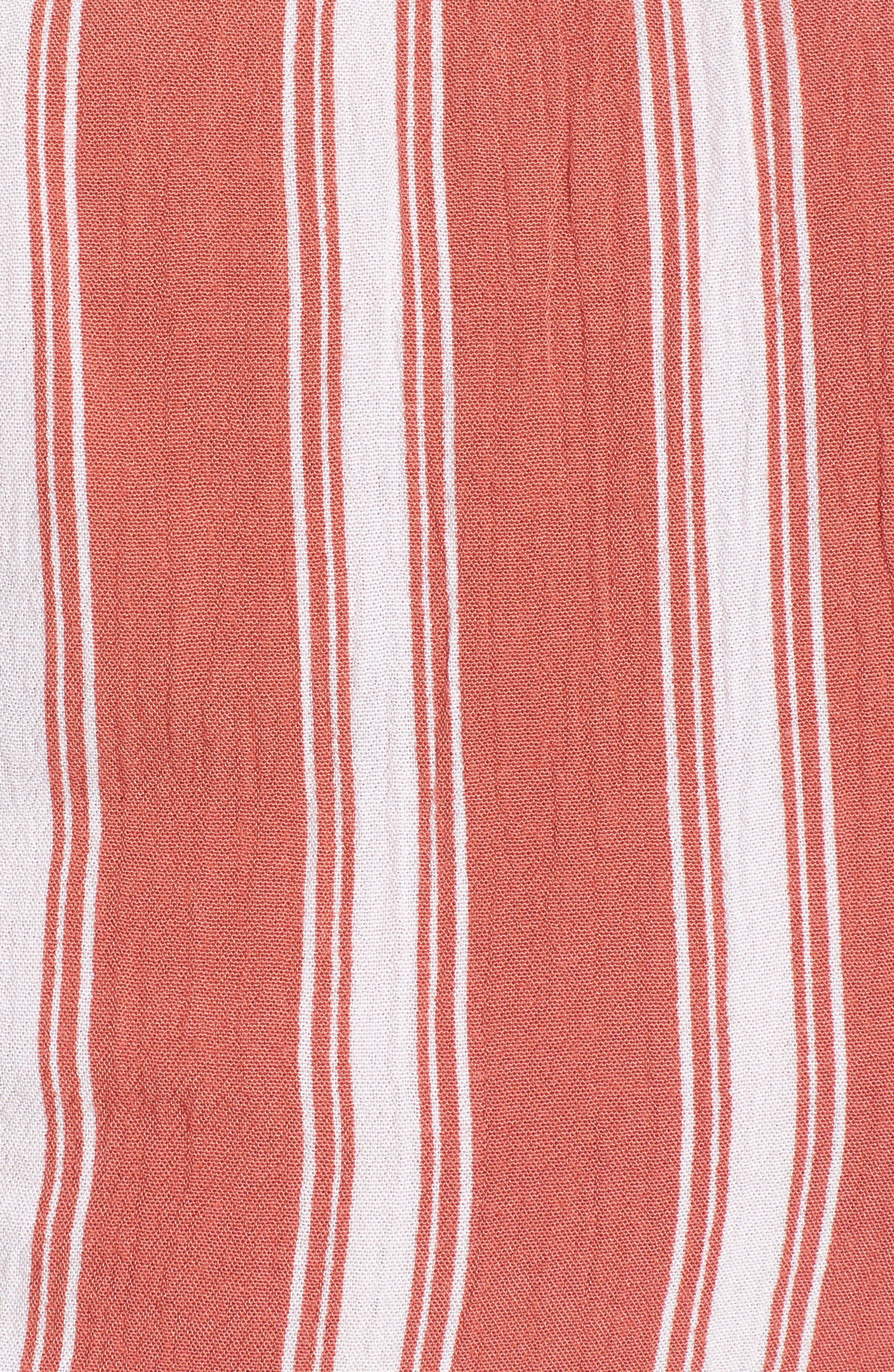 Stripe Smocked Crop Top,                             Alternate thumbnail 5, color,                             DUSTY CORAL/ IVORY