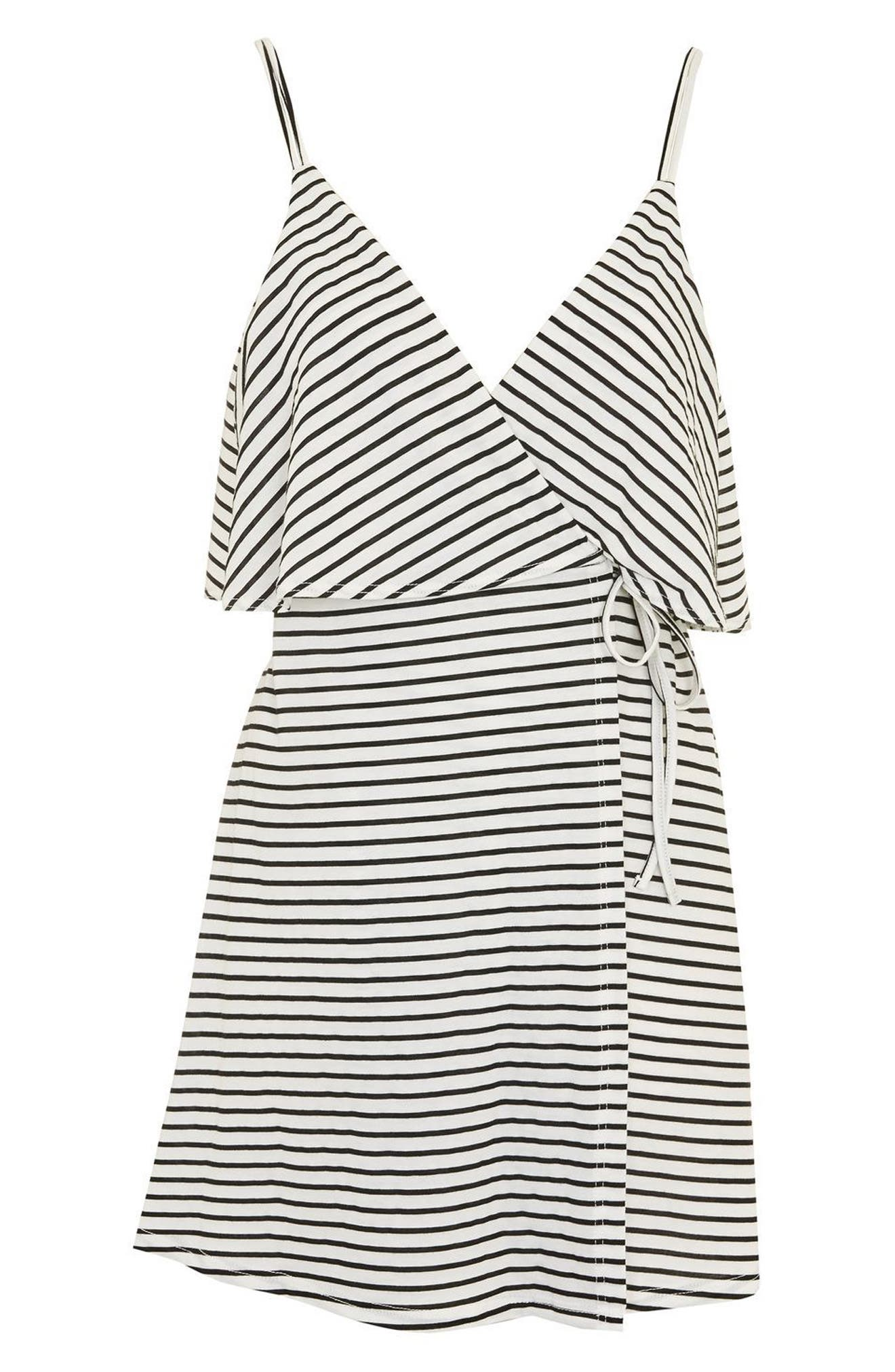 Stripe Wrap Sundress,                             Alternate thumbnail 4, color,                             100