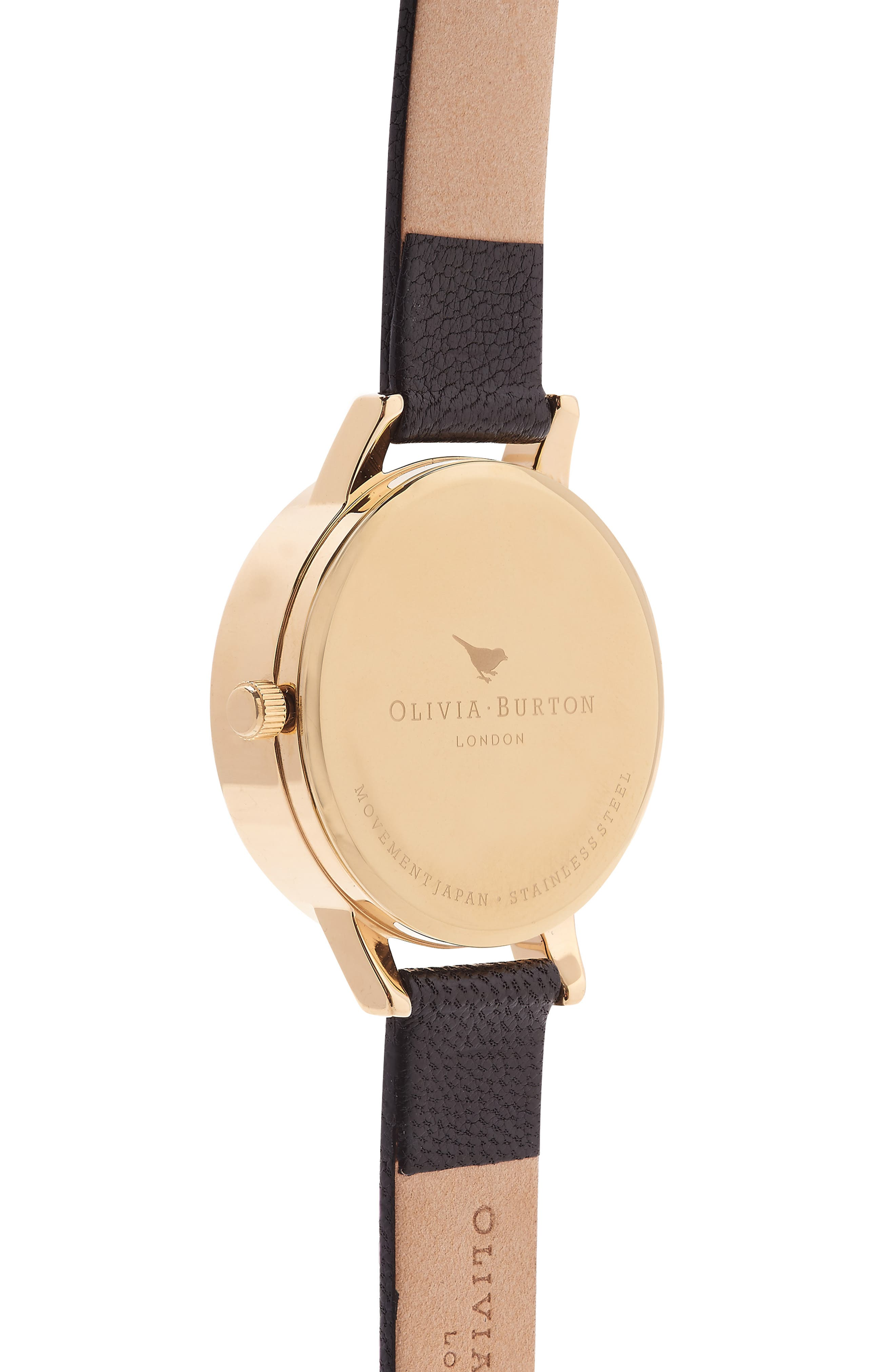3D Daisy Leather Strap Watch, 30mm,                             Alternate thumbnail 7, color,                             BLACK/ GOLD