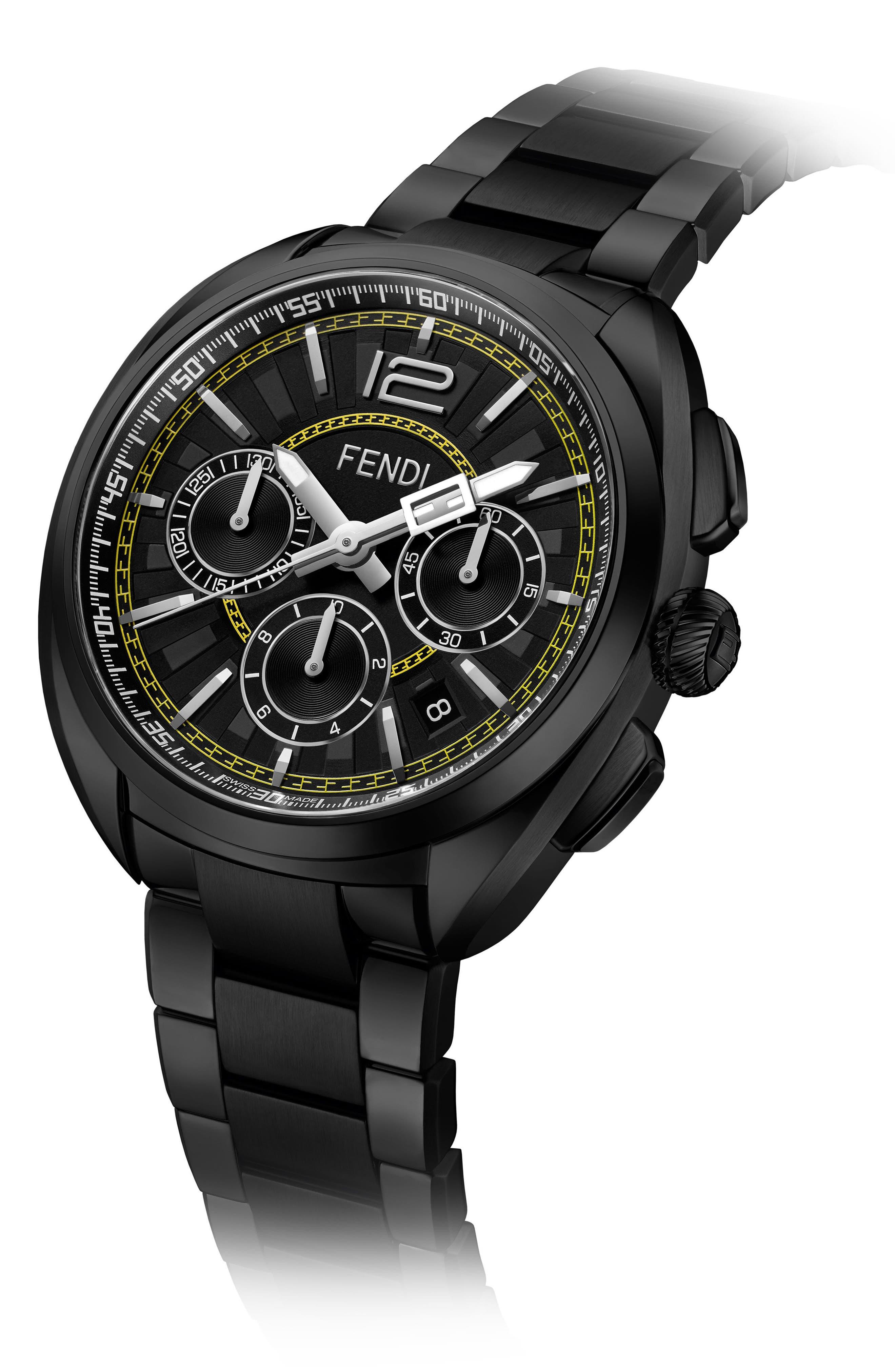 Momento Chronograph Bracelet Watch, 46mm,                             Alternate thumbnail 2, color,                             BLACK