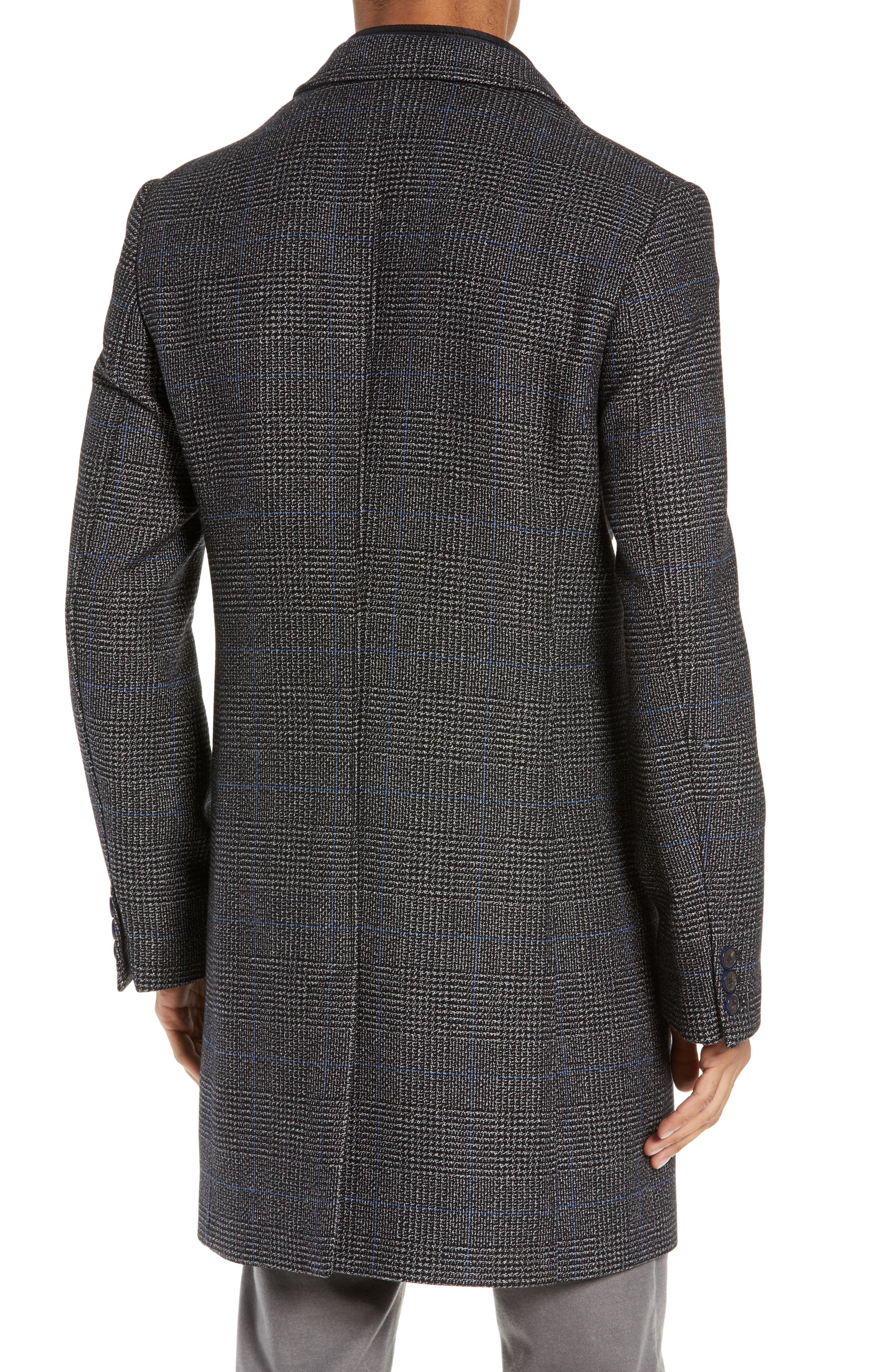 Plaid Stretch Wool & Cotton Overcoat,                             Alternate thumbnail 2, color,                             CHARCOAL
