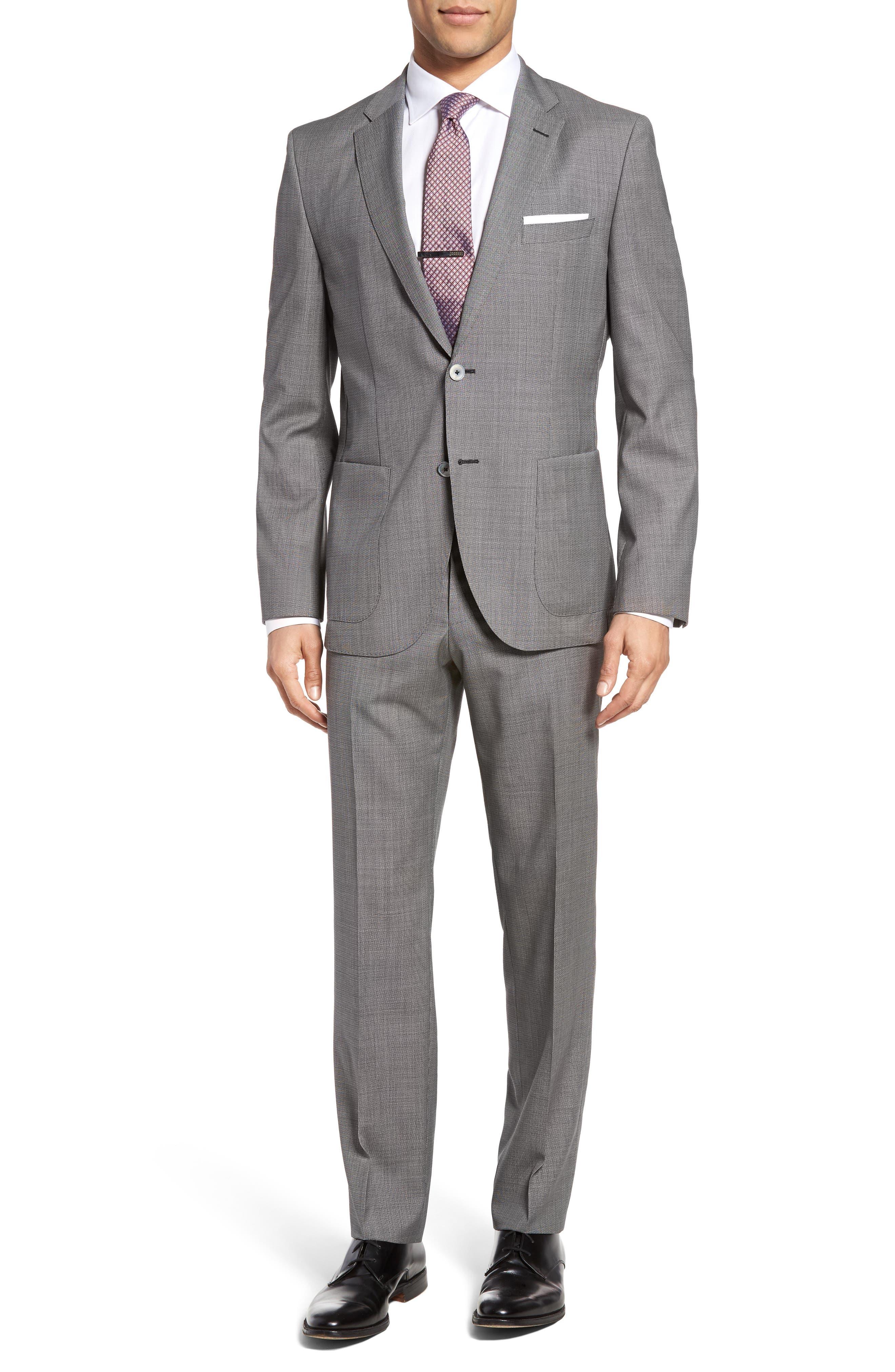 Janon/Lenon Trim Fit Solid Wool Suit,                         Main,                         color, 020