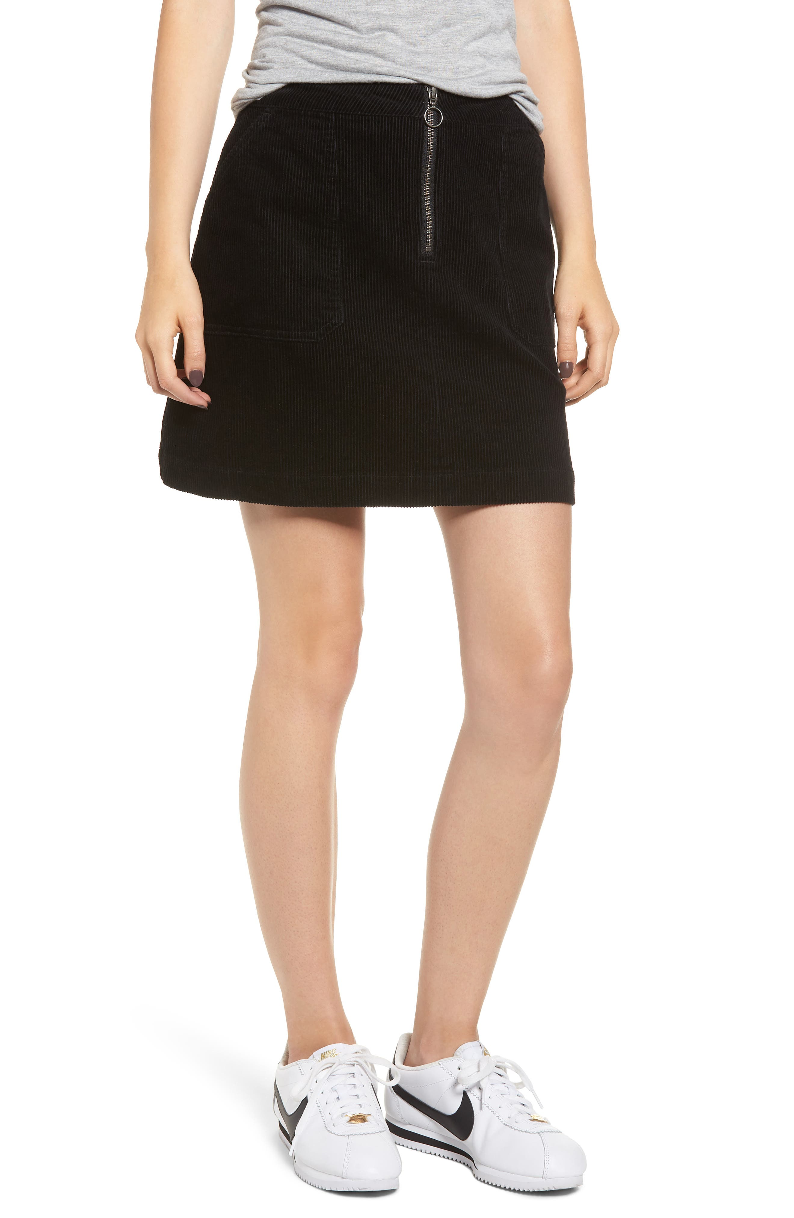 Corduroy Utility Skirt,                             Main thumbnail 1, color,                             BLACK