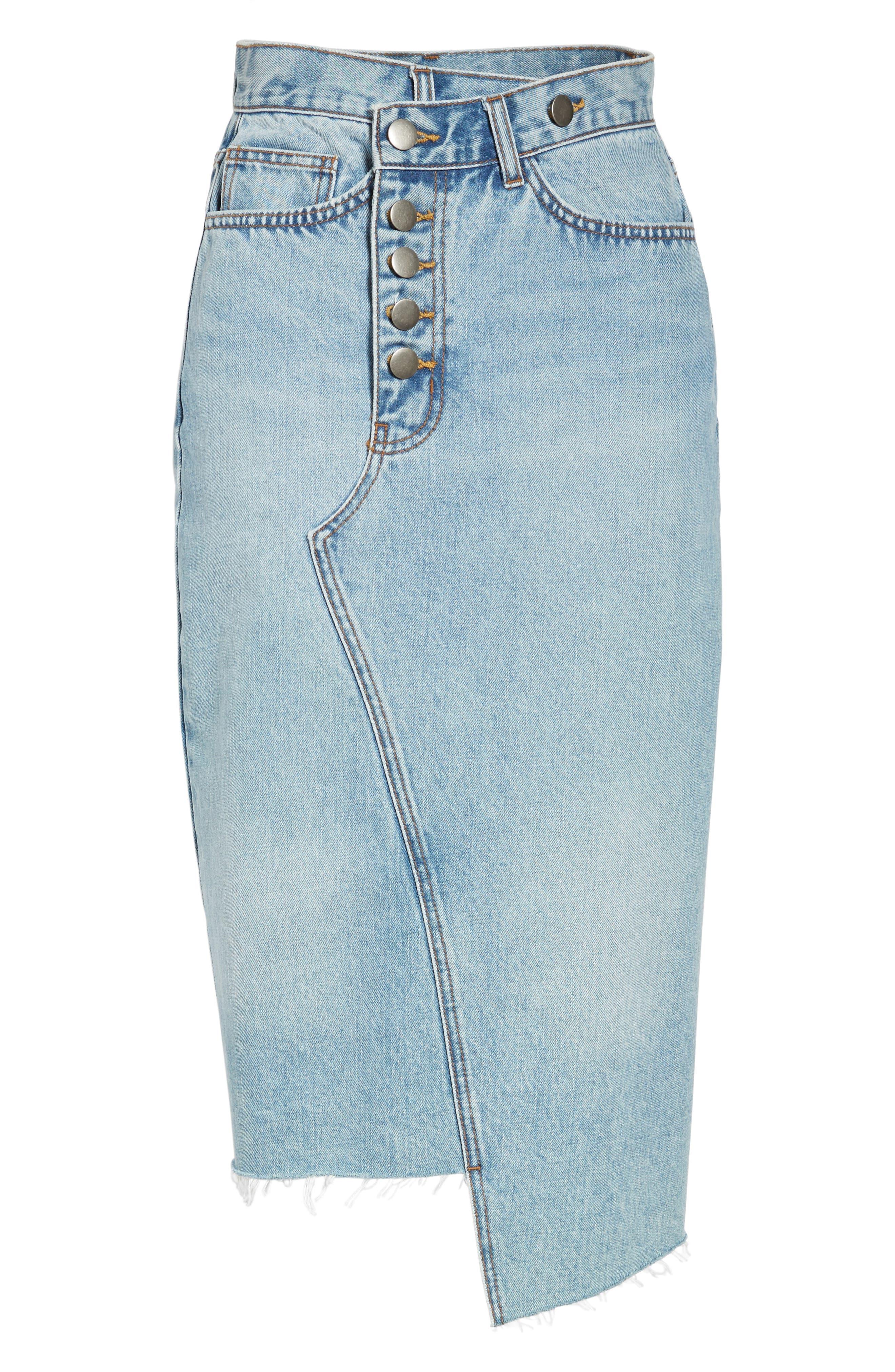 Asymmetrical Denim Pencil Skirt,                             Alternate thumbnail 6, color,                             410