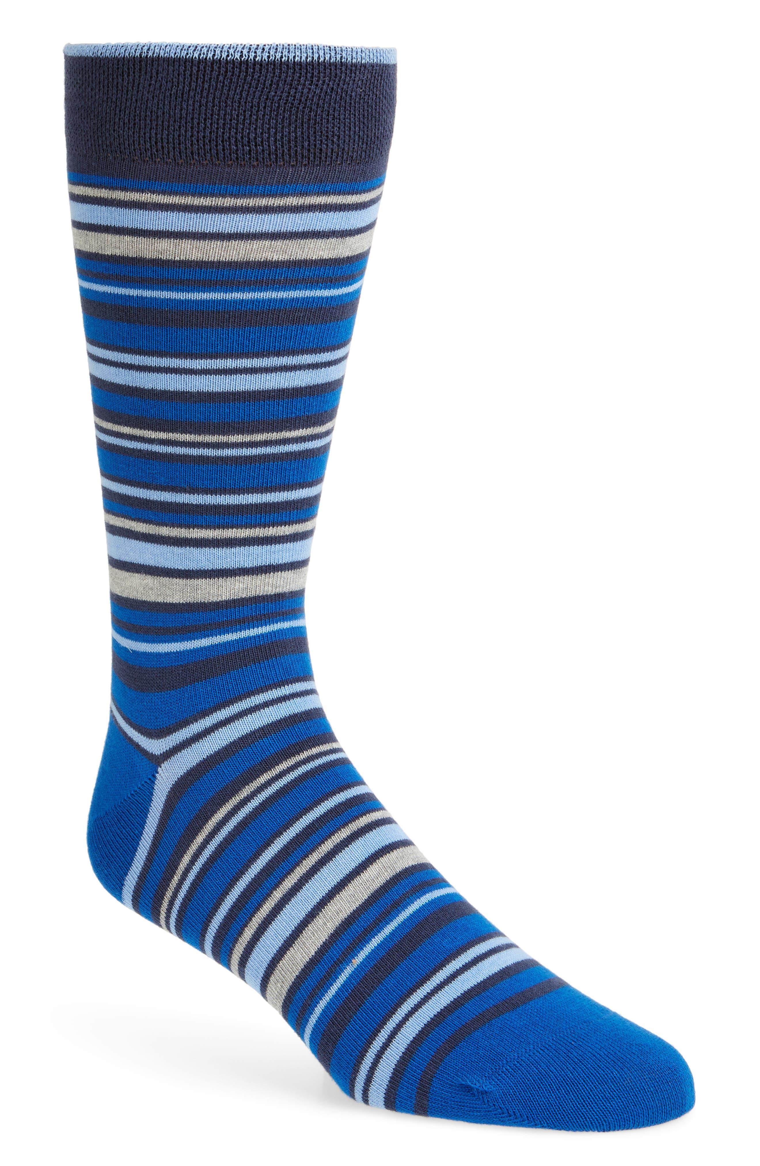 Nete Stripe Socks,                         Main,                         color, BRIGHT BLUE