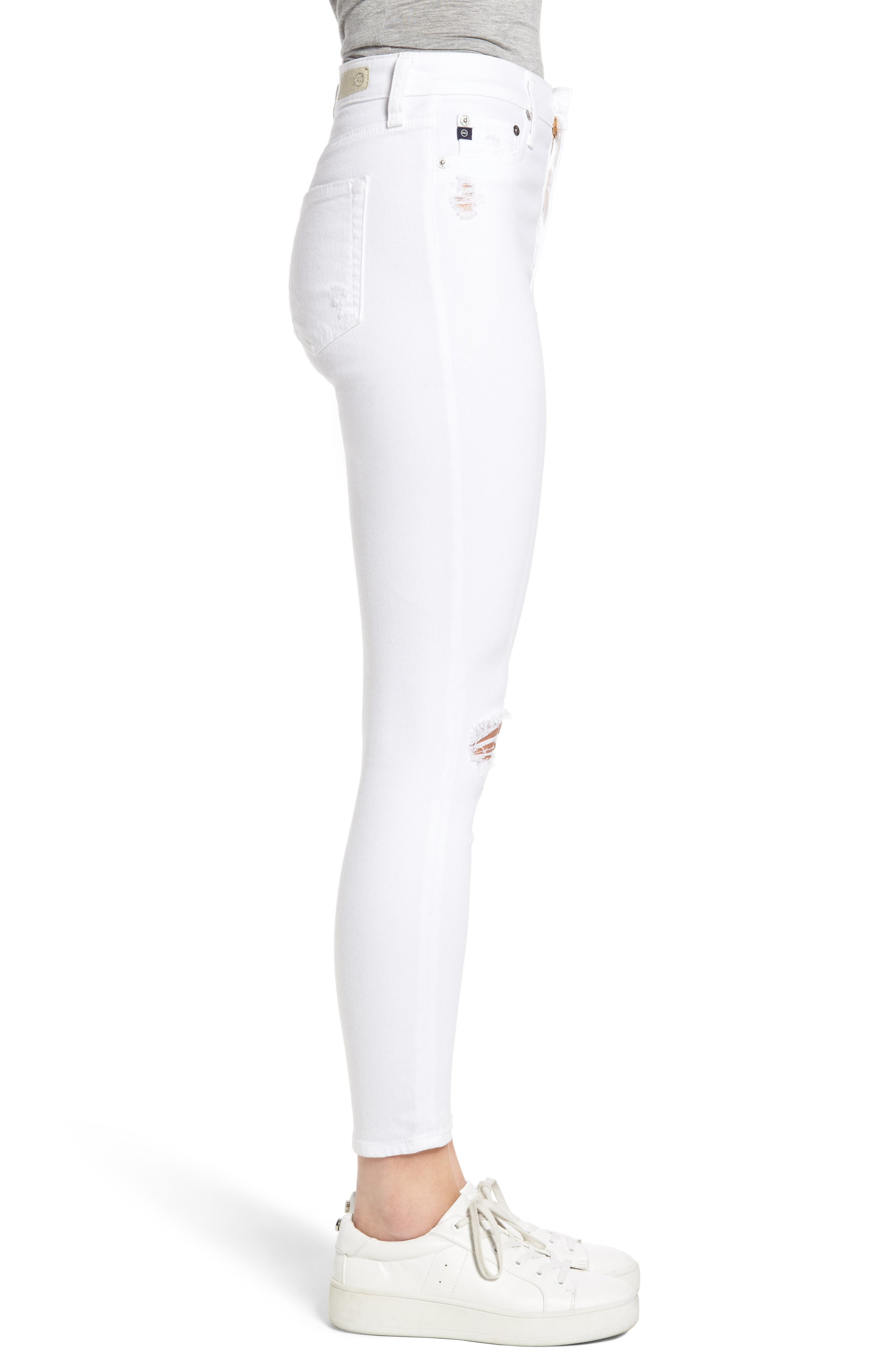 Mila Ripped High Waist Ankle Skinny Jeans,                             Alternate thumbnail 3, color,                             104