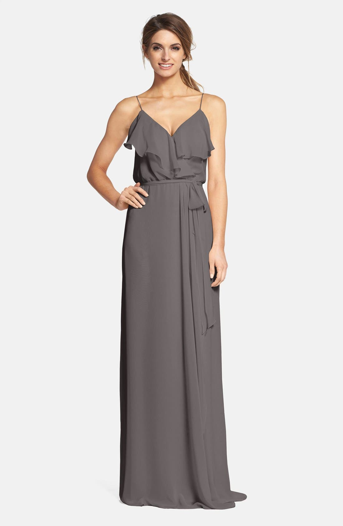 'Drew' Ruffle Front Chiffon Gown,                             Main thumbnail 5, color,