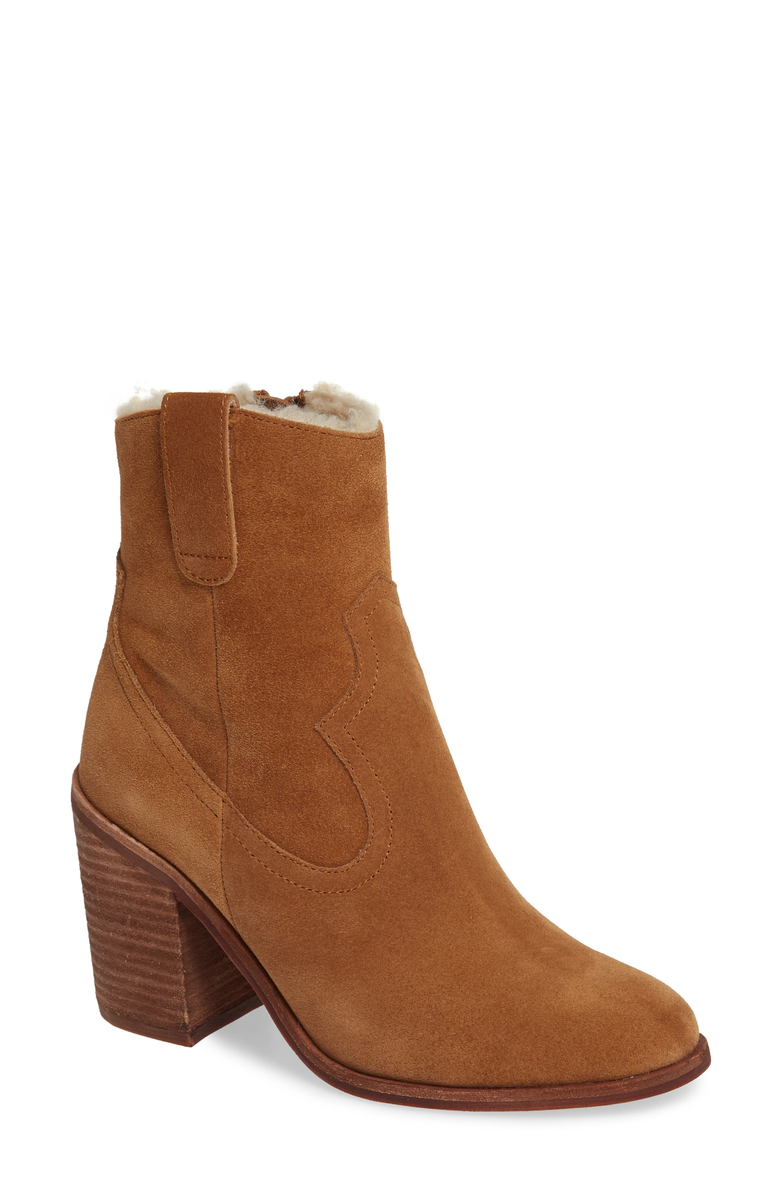 Jeffrey Campbell Guinn Faux Shearling Lined Bootie, Brown