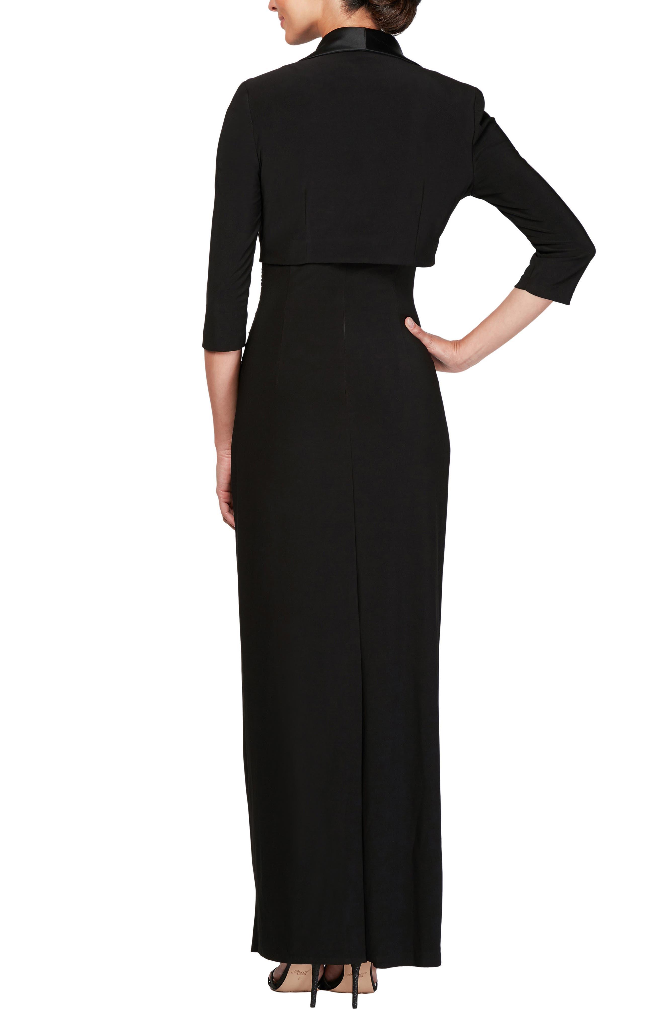 Ruched Maxi Dress & Jacket,                             Alternate thumbnail 2, color,                             BLACK
