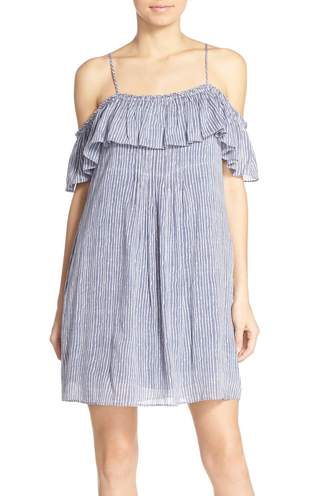'Chantal' Off the Shoulder Woven Swing Dress,                         Main,                         color, 400