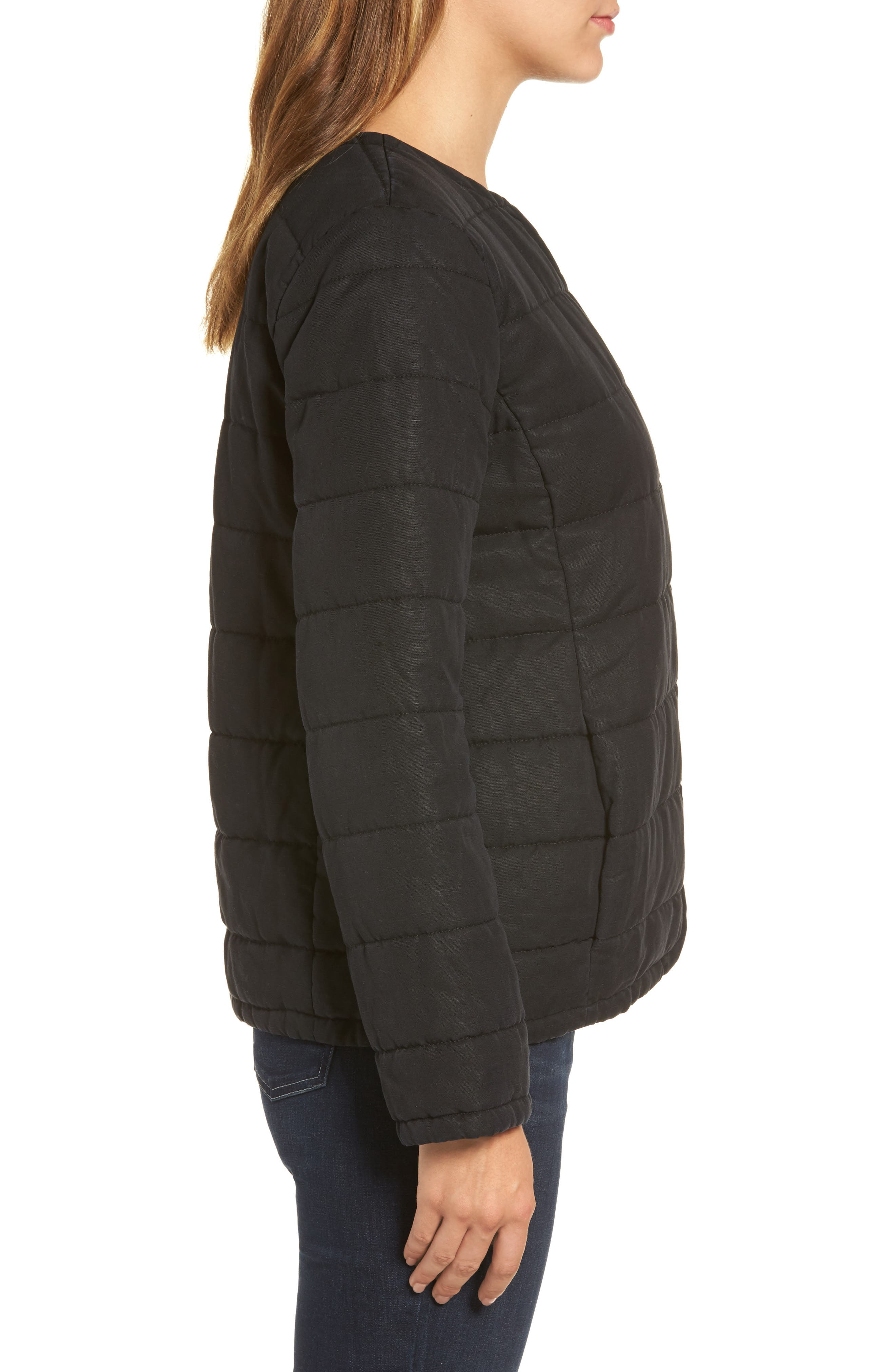 Collarless Quilted Jacket,                             Alternate thumbnail 3, color,                             001