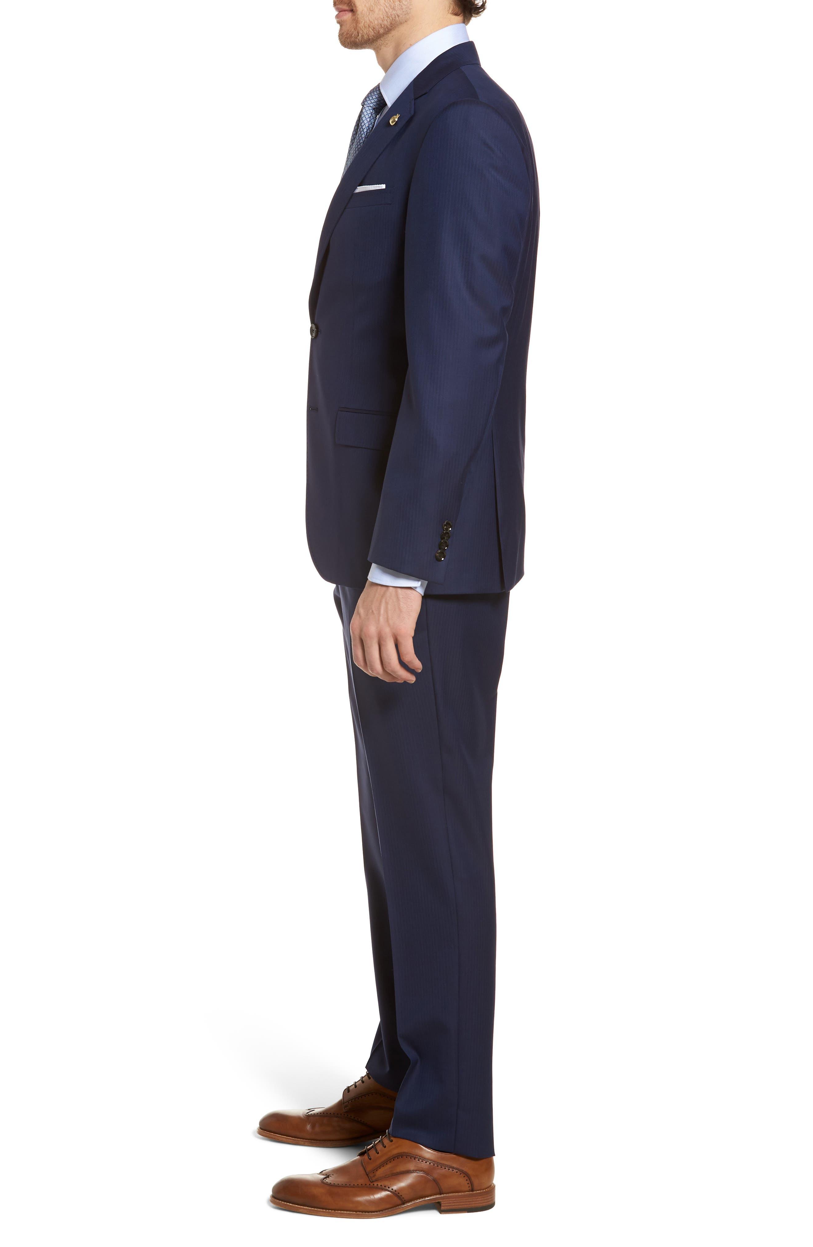 Jay Trim Fit Stripe Wool Suit,                             Alternate thumbnail 3, color,                             410