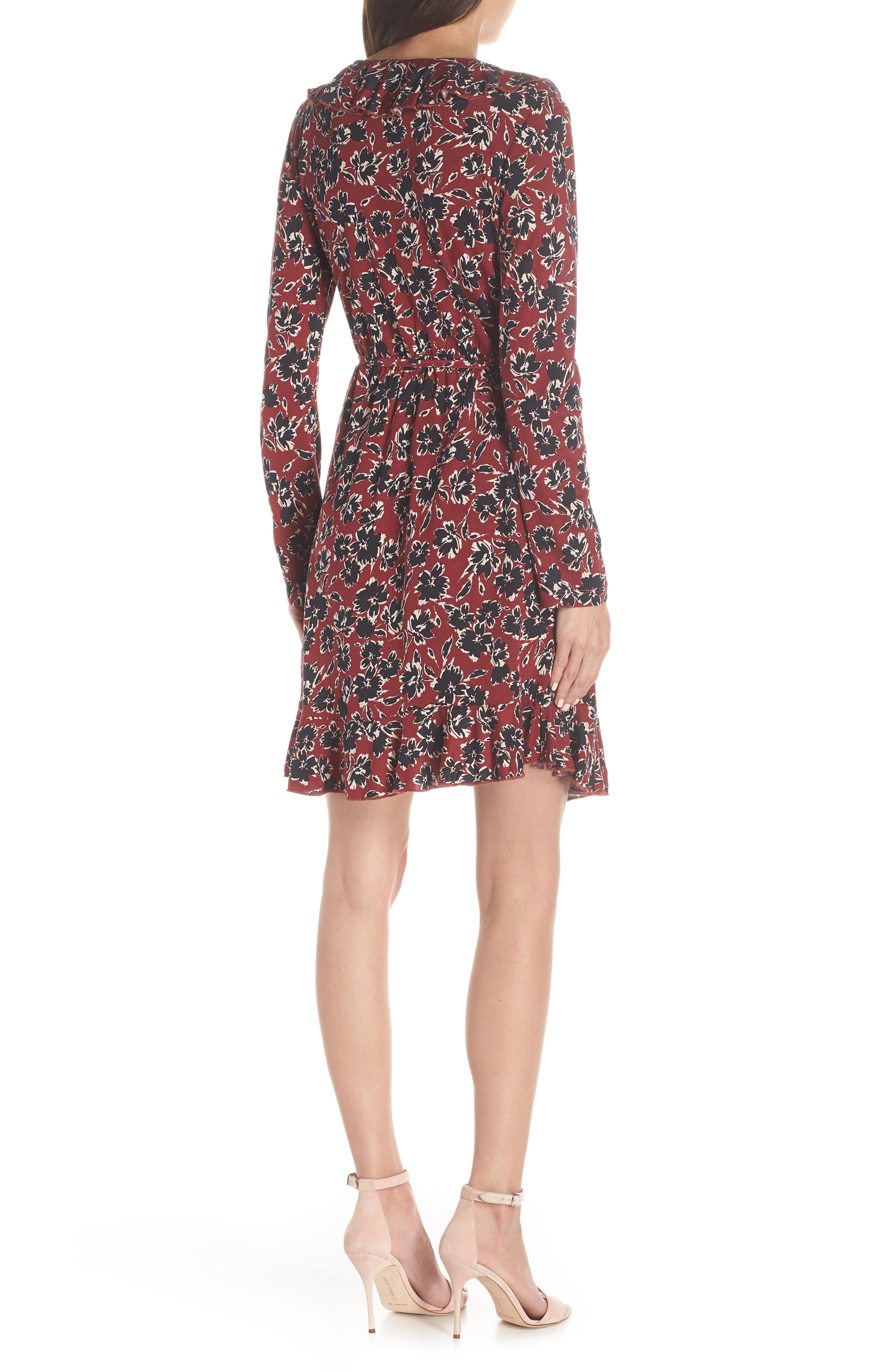 FRENCH CONNECTION,                             Aubi Meadow Jersey Dress,                             Alternate thumbnail 2, color,                             ROSSO RED MULTI