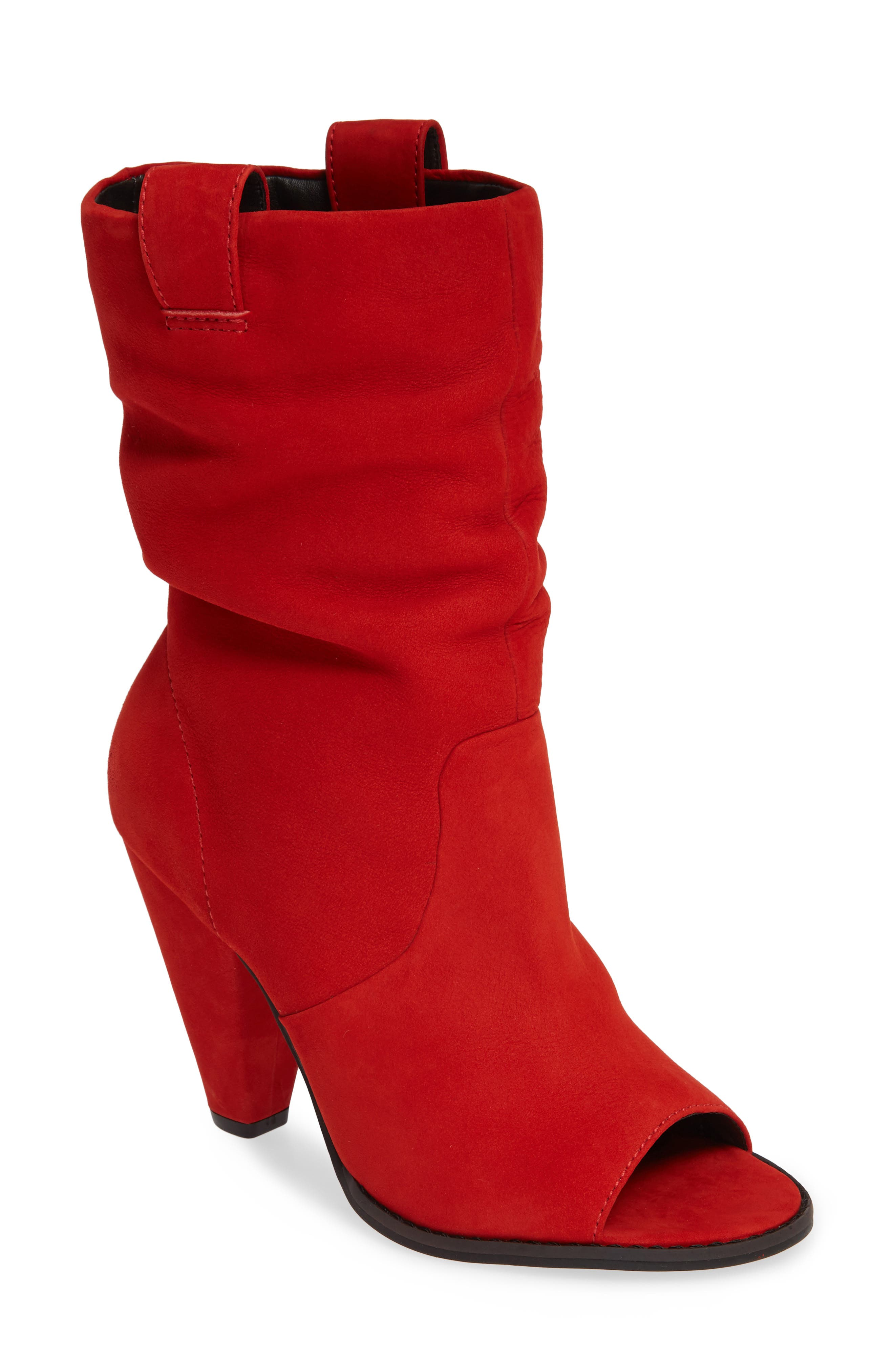 LUST FOR LIFE Cleo Open Toe Bootie in Crimson Nubuck Leather