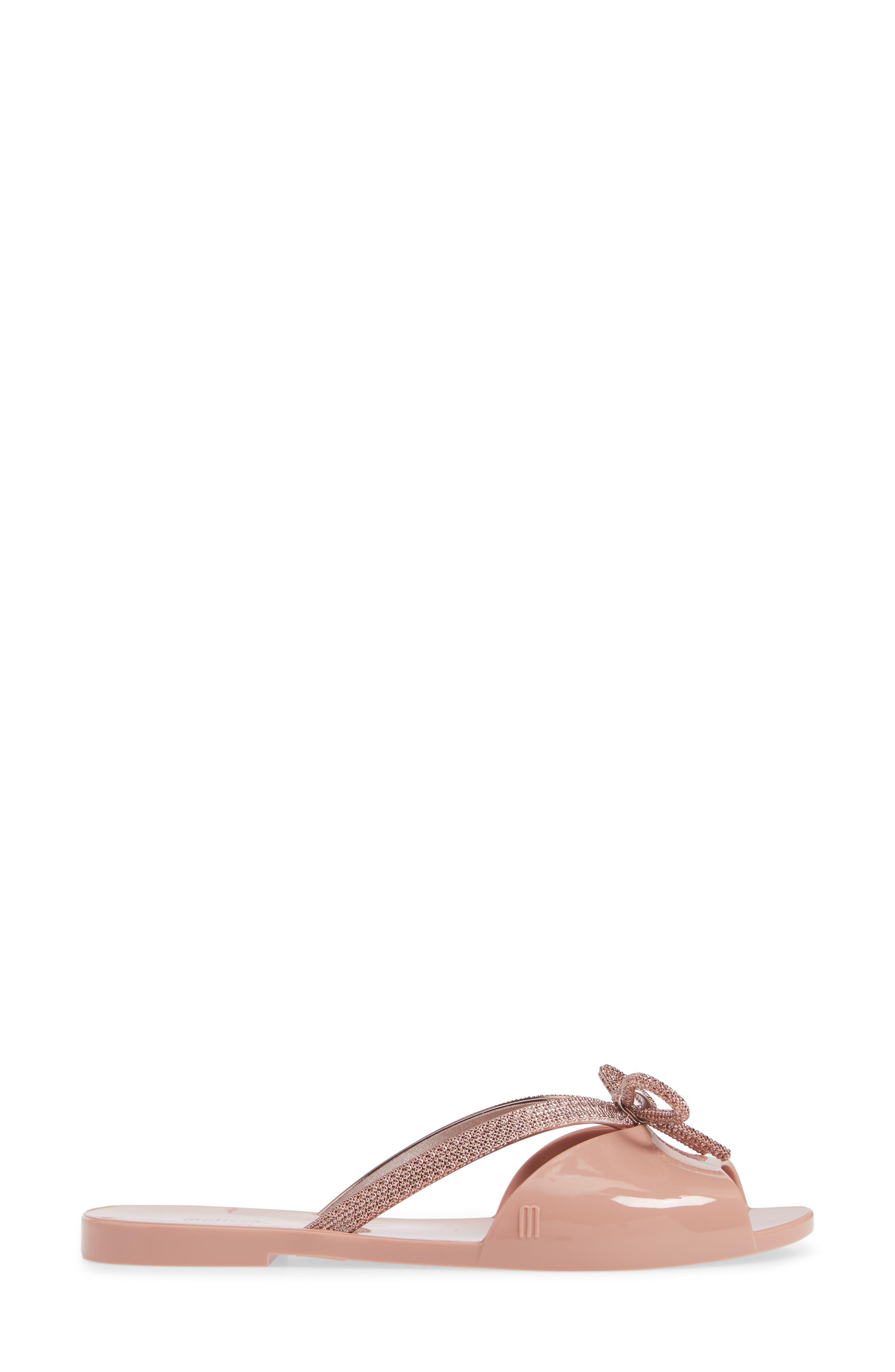 Ela Chrome Slide Sandal,                             Alternate thumbnail 3, color,                             METALLIC PINK RUBBER